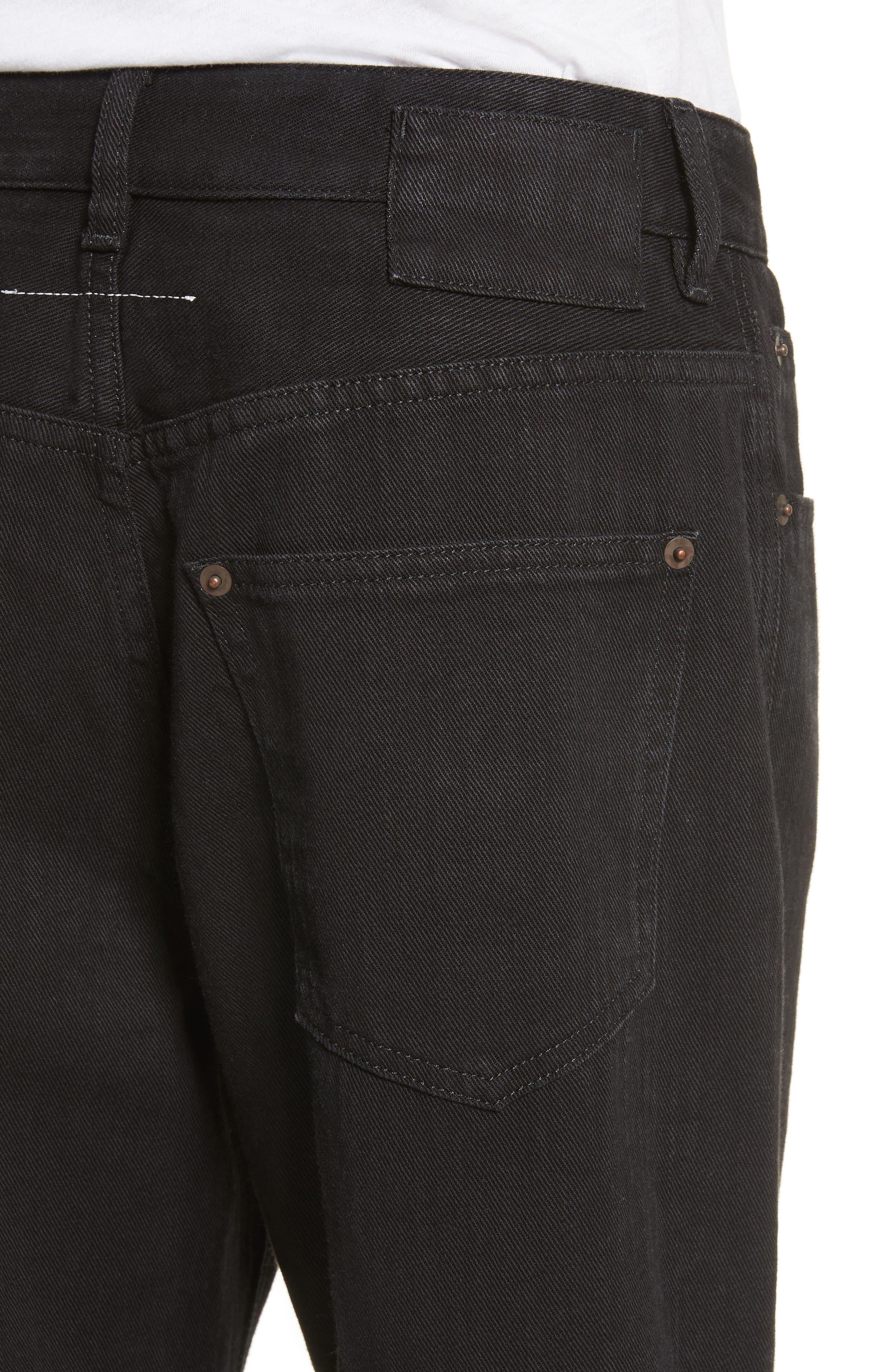 Just Wash Point Hem Wide Leg Jeans,                             Alternate thumbnail 6, color,                             Black