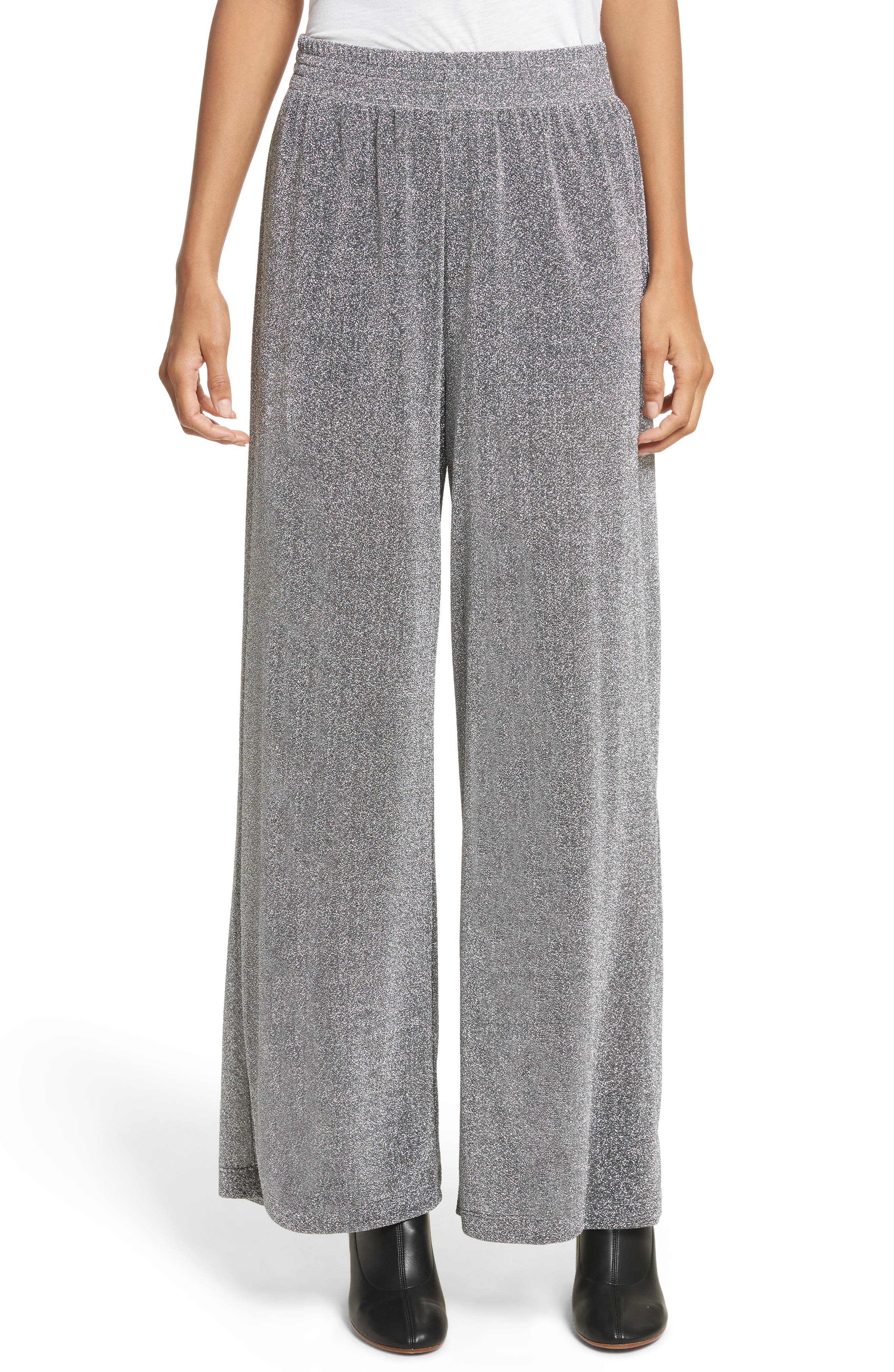 Metallic Jersey Wide Leg Pants,                         Main,                         color, Grey