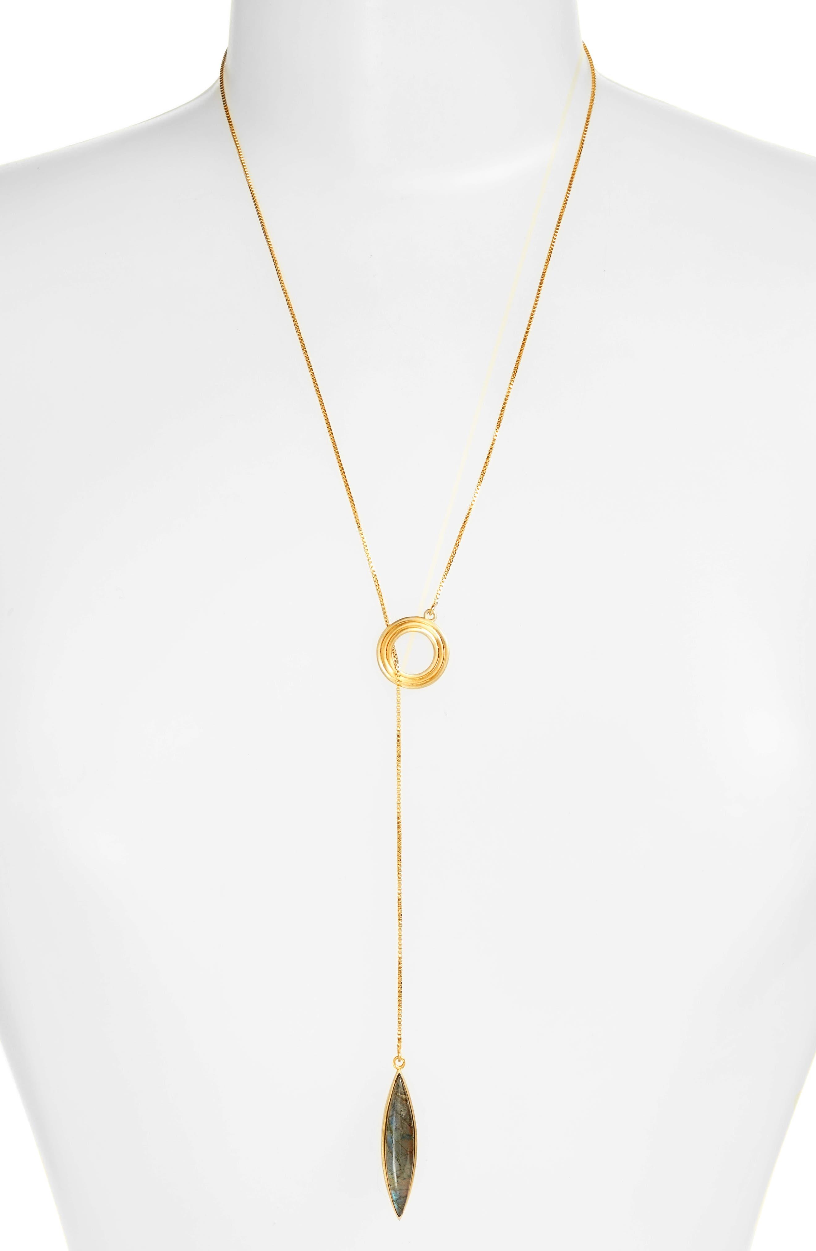 Zaha Lariat Pendant Necklace,                         Main,                         color, Labradorite/ Gold