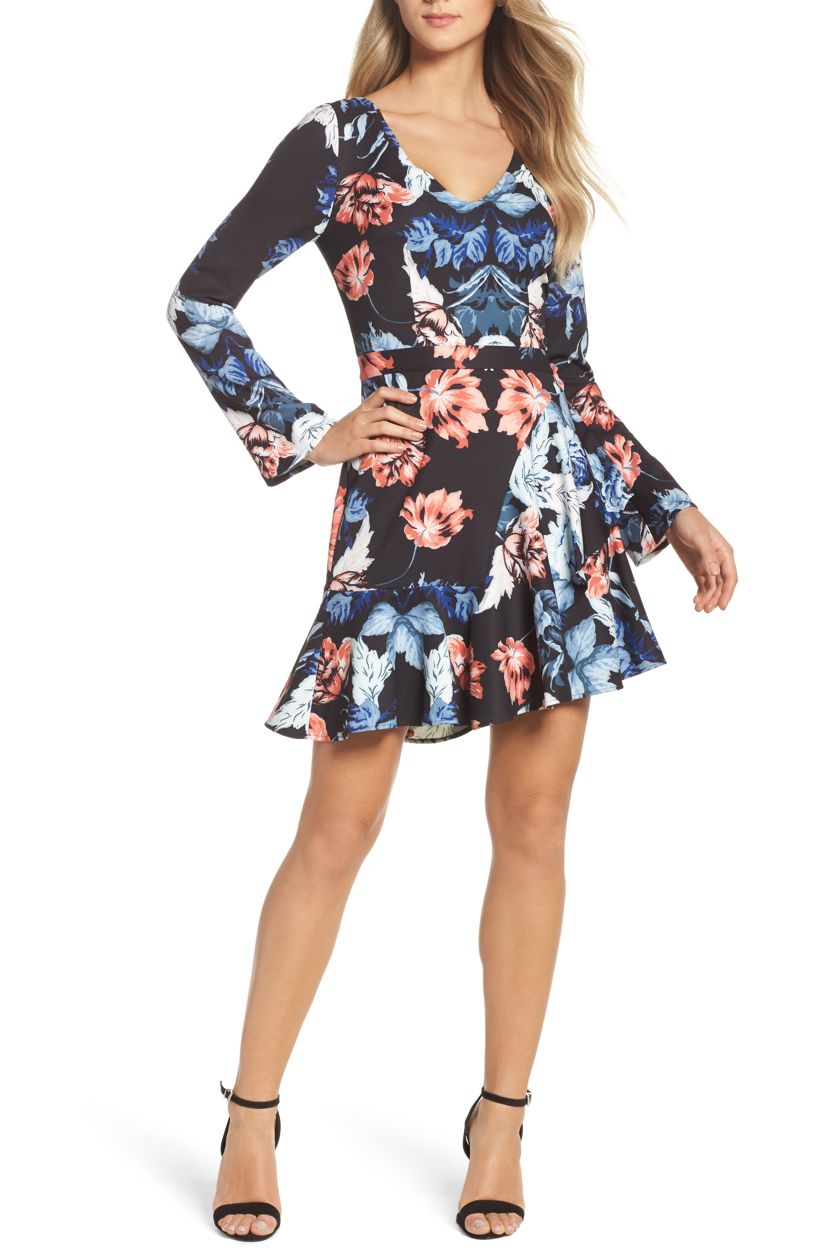 Red Reality Minidress,                             Main thumbnail 1, color,                             Red Reality Print