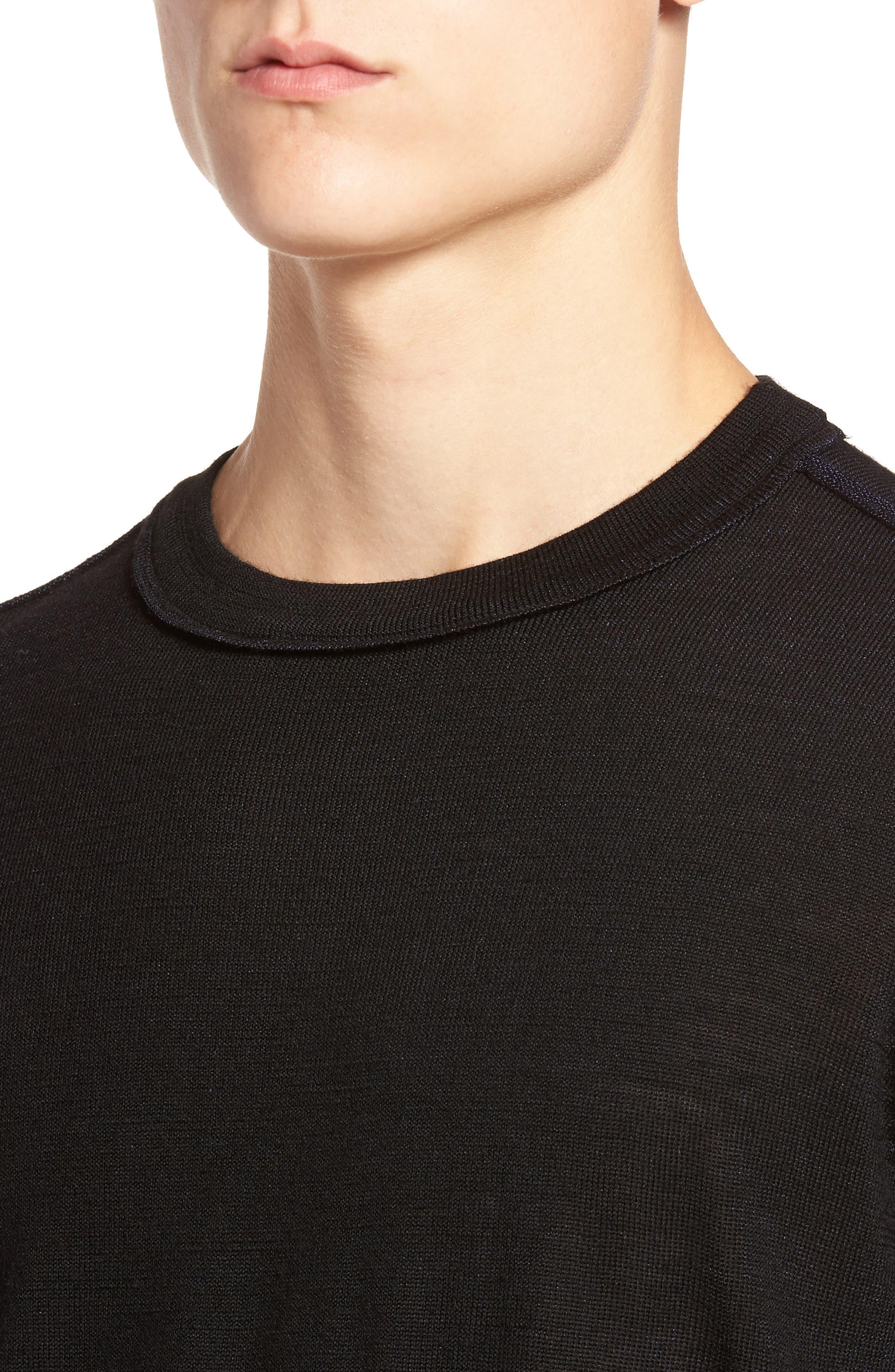 Crewneck Wool Blend Sweater,                             Alternate thumbnail 4, color,                             Black