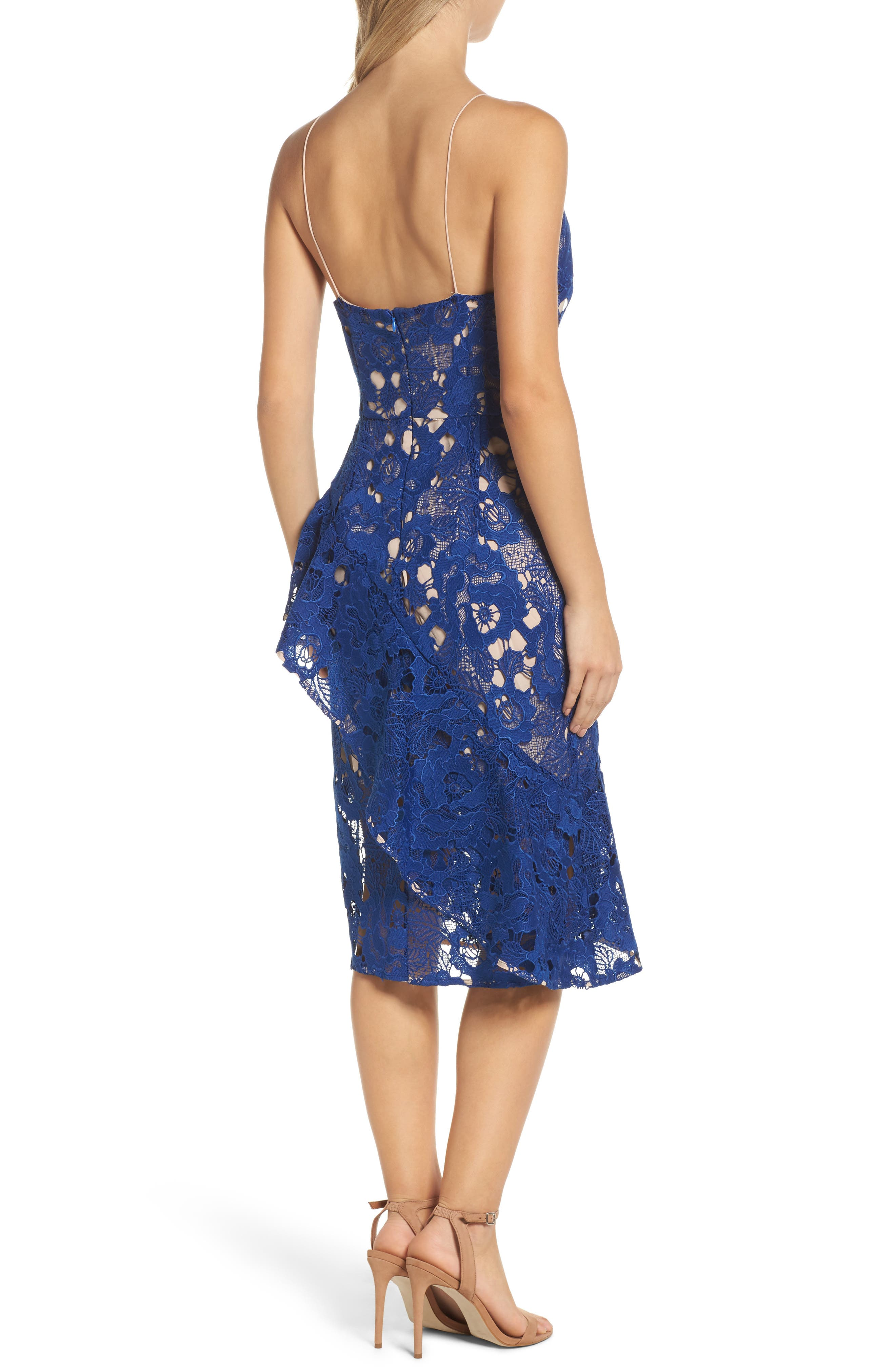 Sky Beauty Lace Ruffle Dress,                             Alternate thumbnail 2, color,                             Catalina Blue