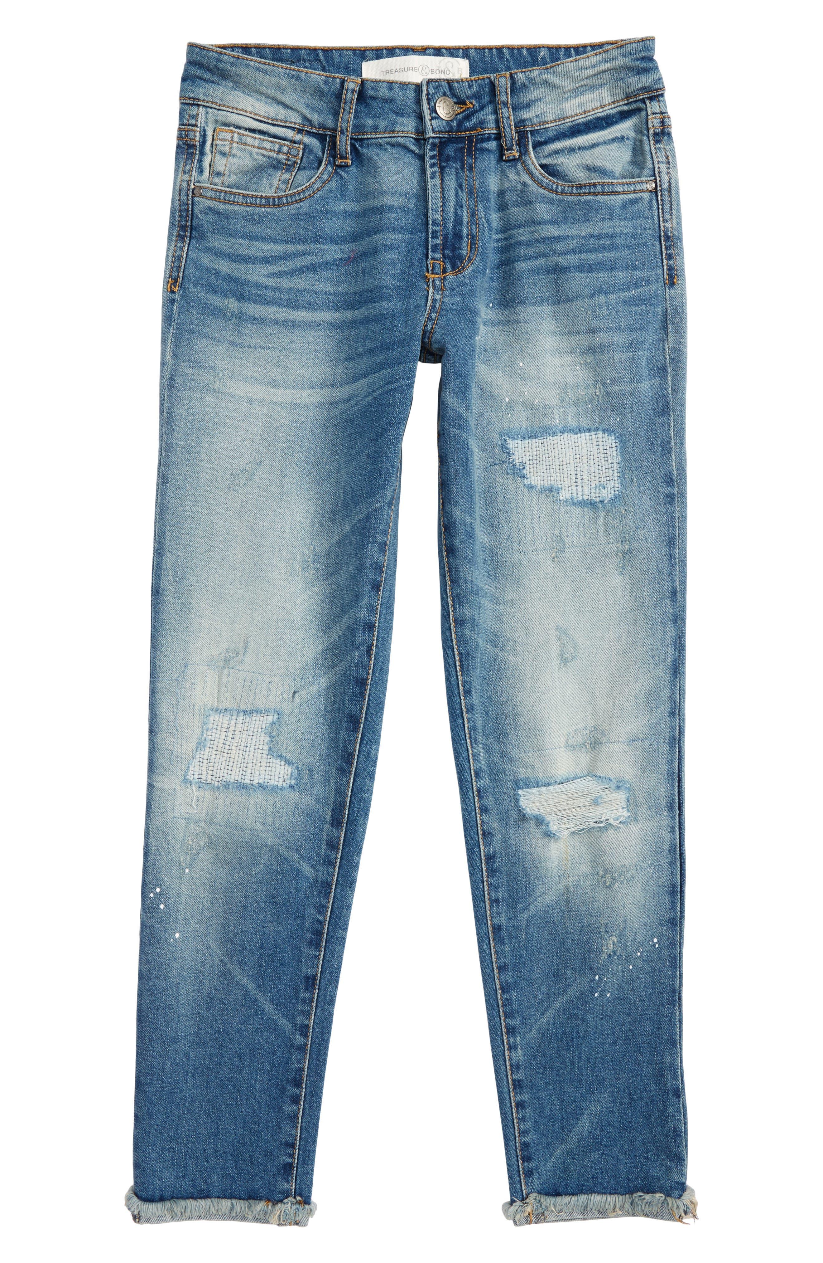 Alternate Image 1 Selected - Treasure & Bond Crop Distressed Girlfriend Jeans (Big Girls)