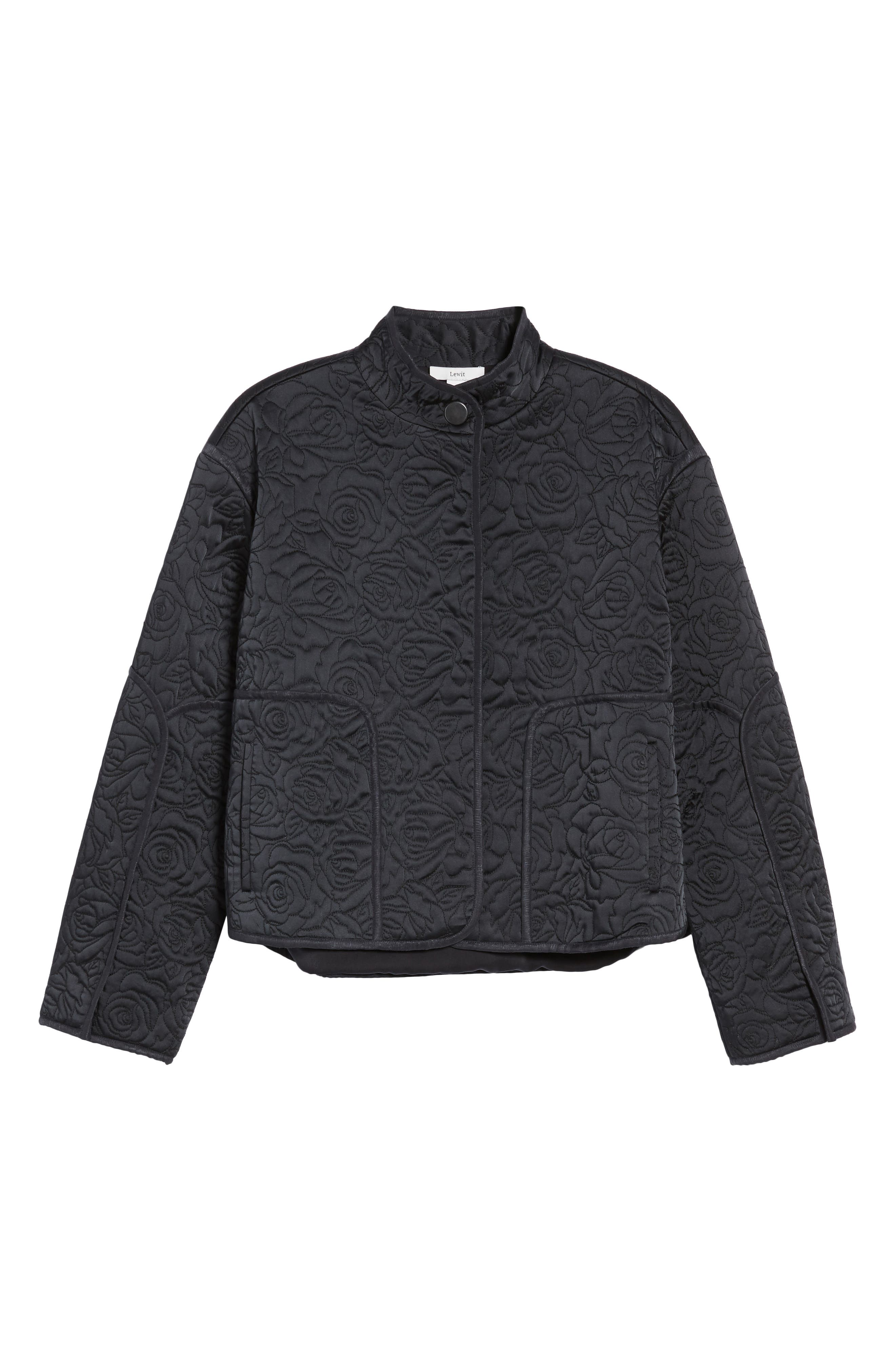 Floral Quilted Satin Jacket,                             Alternate thumbnail 6, color,                             Navy Night