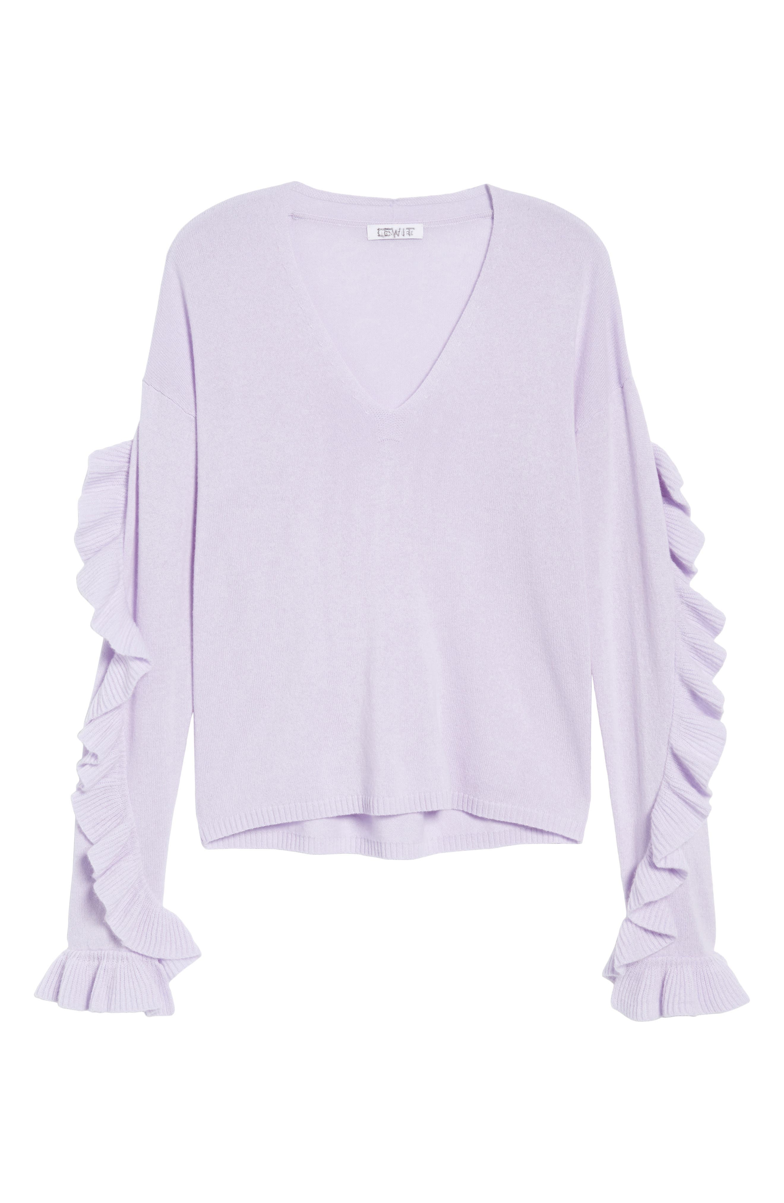 Ruffle Sleeve Cashmere Sweater,                             Alternate thumbnail 6, color,                             Purple Thistle
