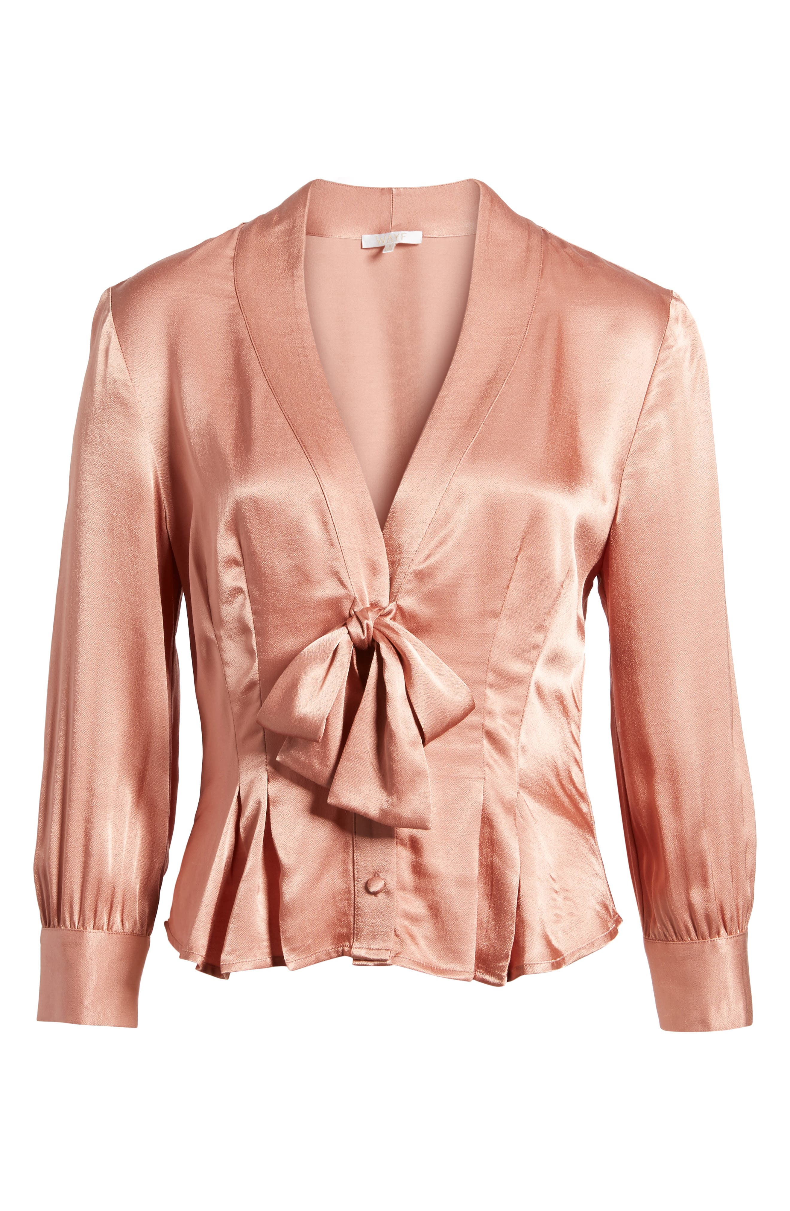 Errol Bow Blouse,                             Alternate thumbnail 6, color,                             Dusty Rose
