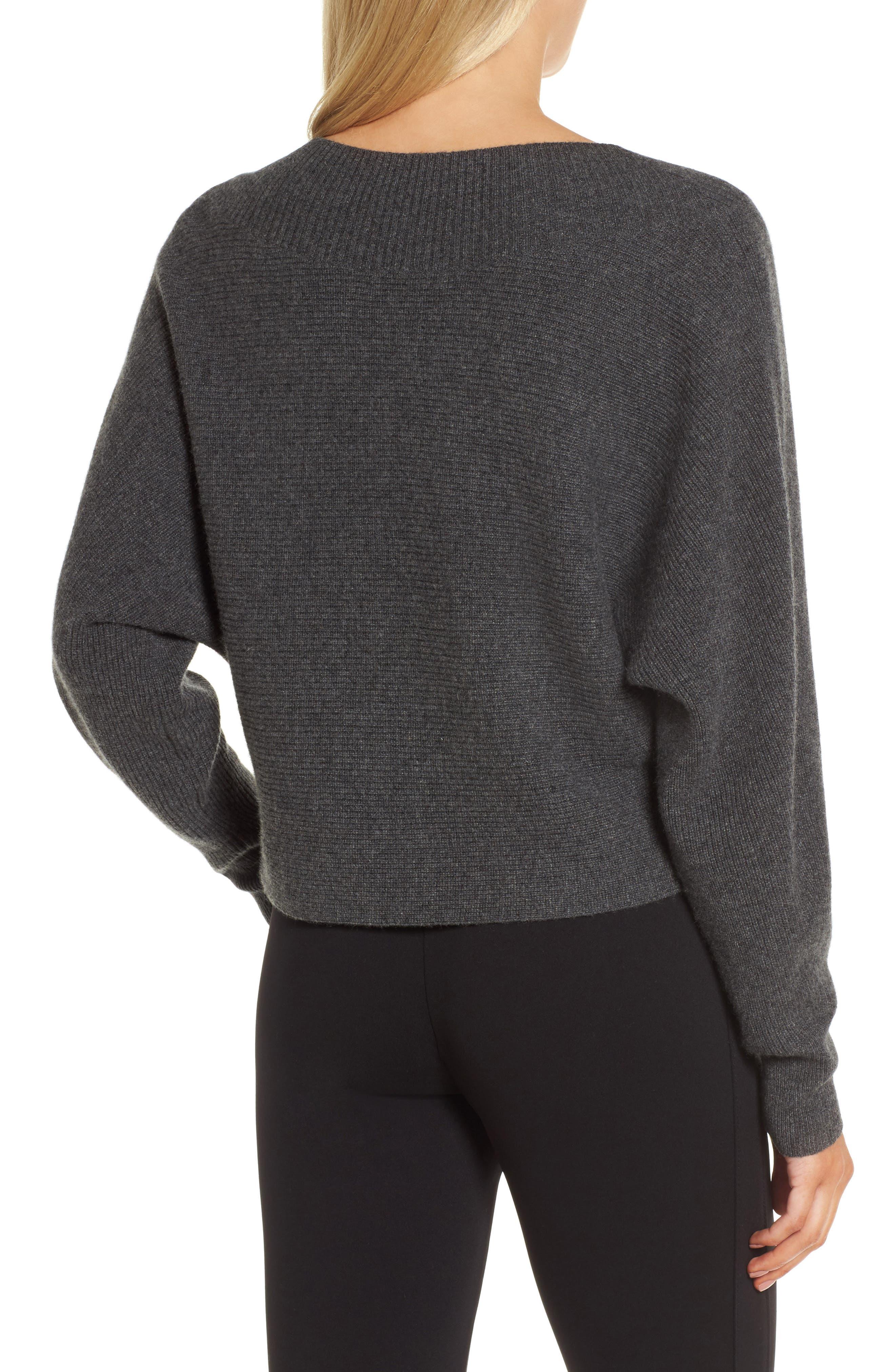 Dolman Sleeve Cashmere Sweater,                             Alternate thumbnail 2, color,                             Grey Castlerock Heather