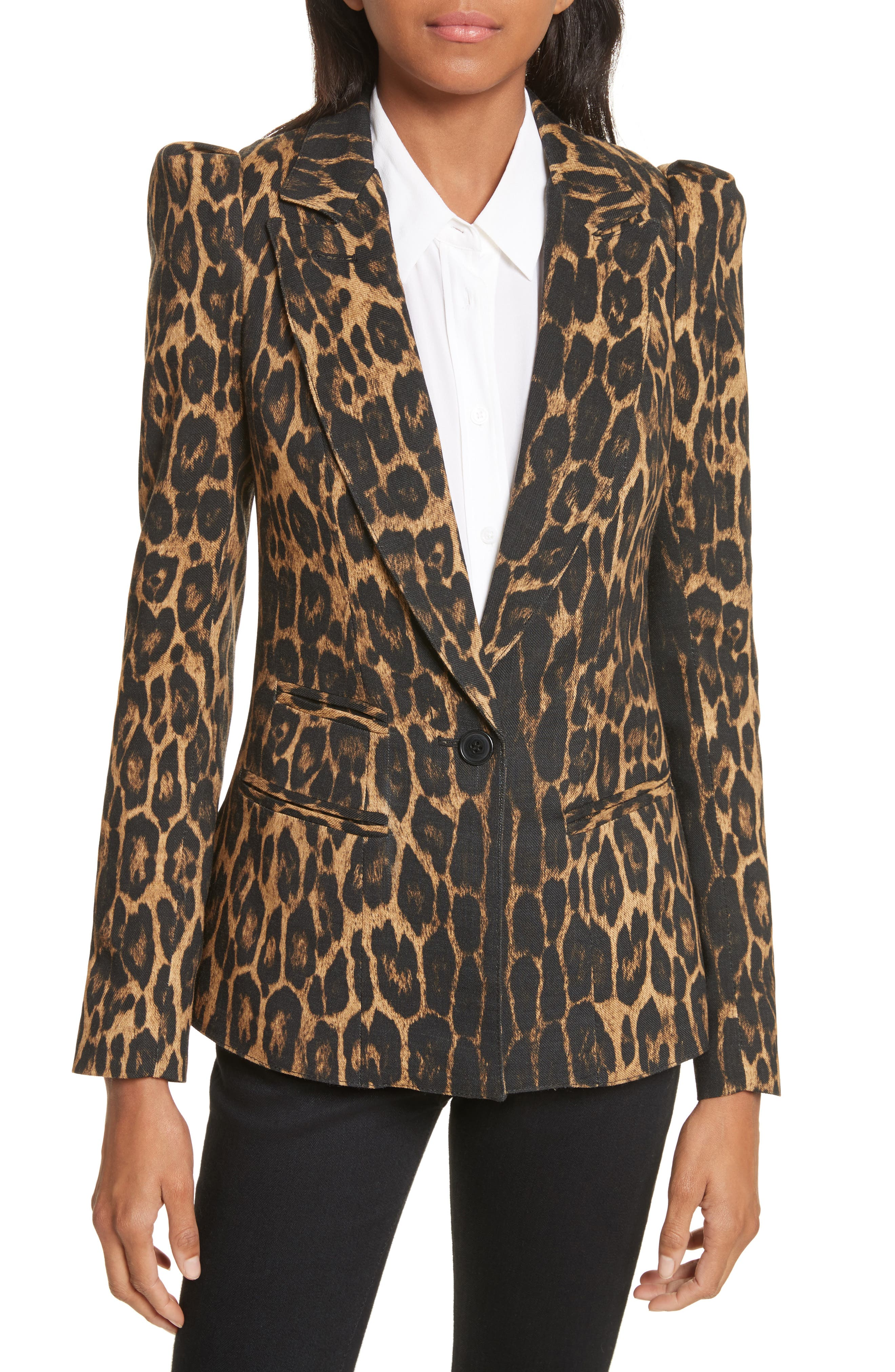 Leopard Puff Shoulder Wool Blazer,                         Main,                         color, Leopard