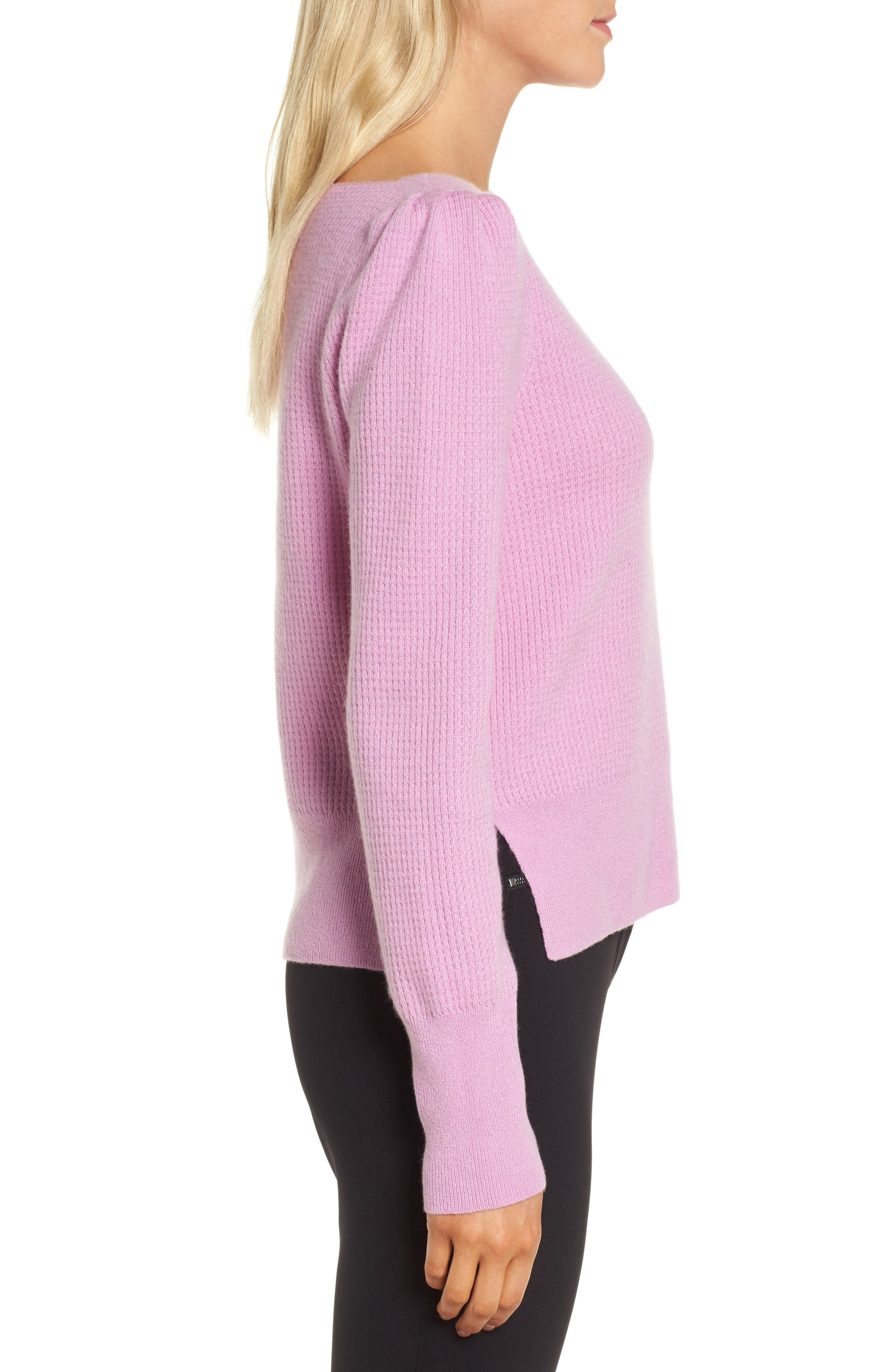 Waffle Stitch Cashmere Sweater,                             Alternate thumbnail 3, color,                             Pink Gale