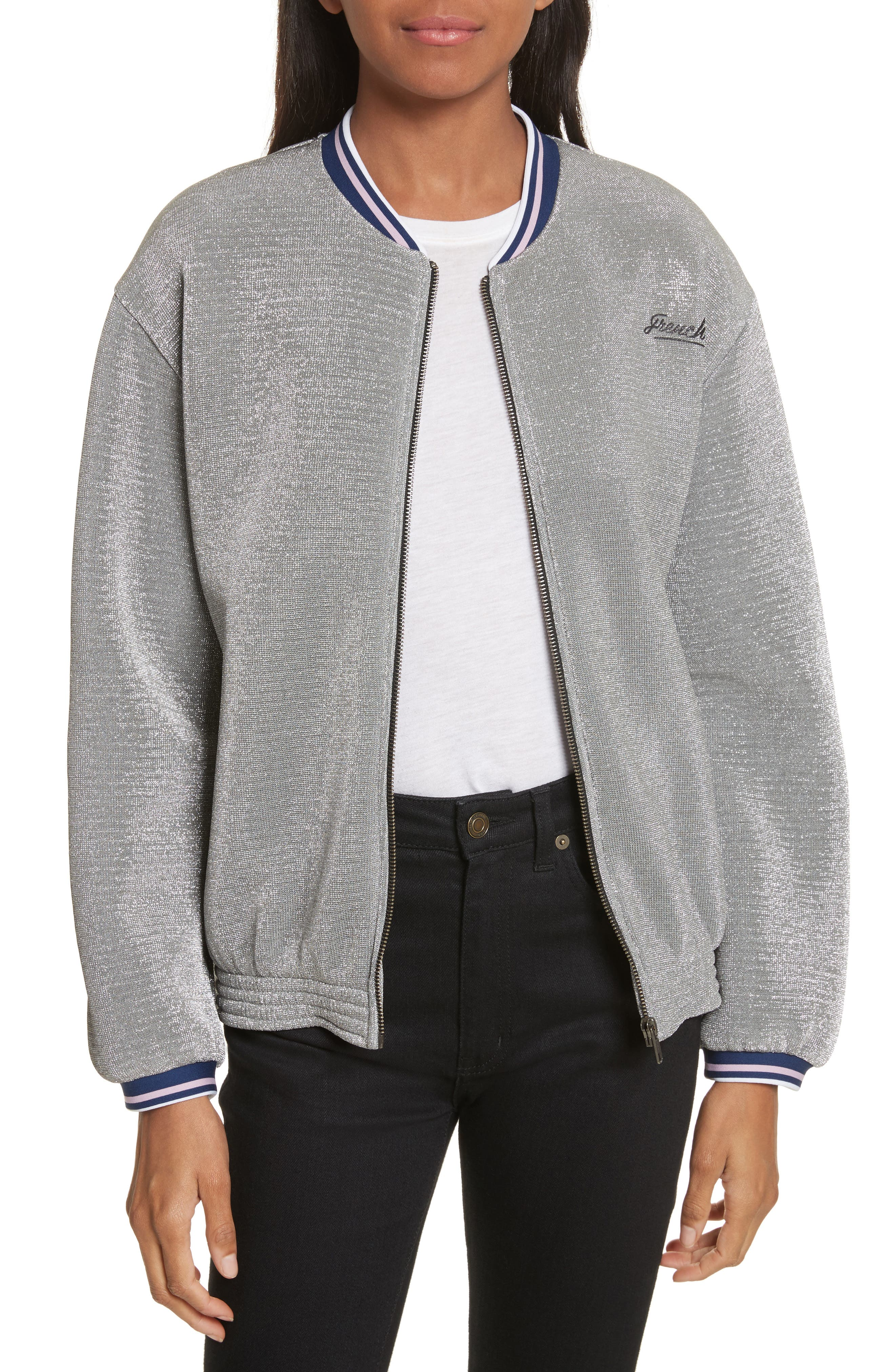 être cécile Frenchie Glitter Varsity Bomber Jacket,                             Main thumbnail 1, color,                             Silver