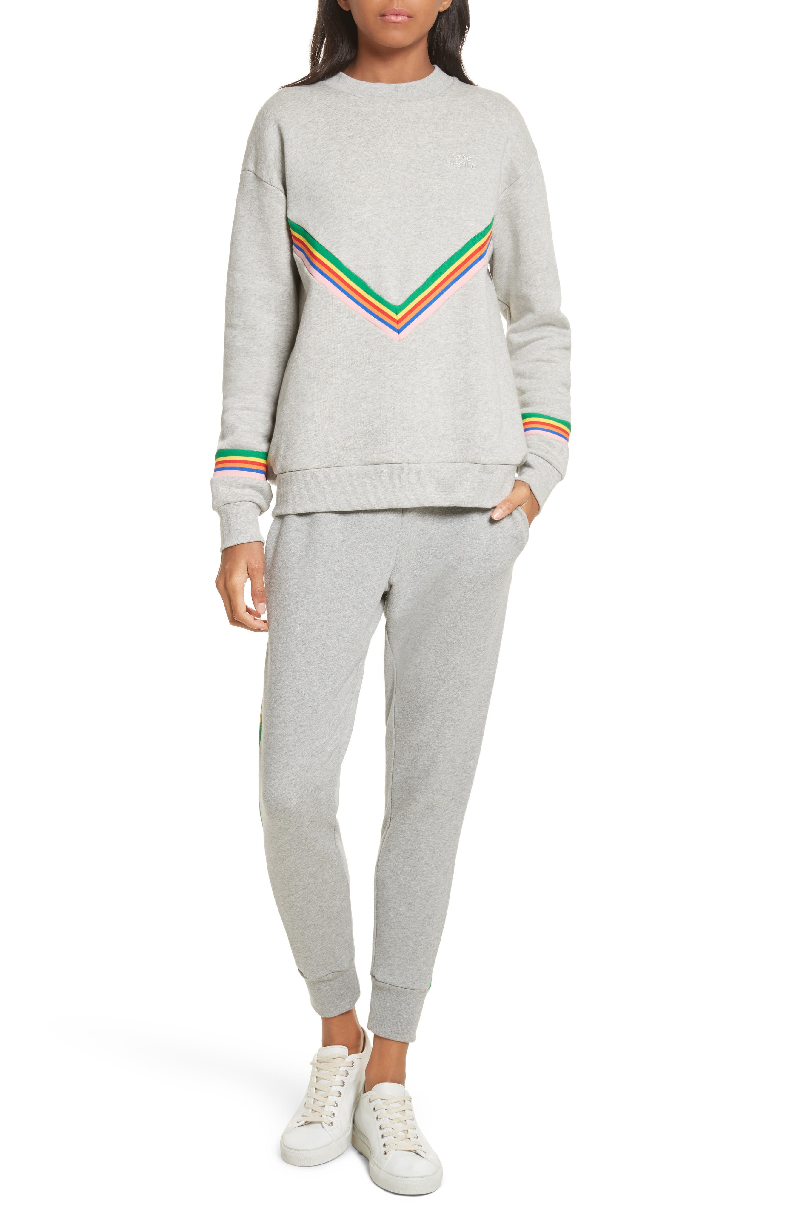 être cécile Rainbow Cotton Boyfriend Sweatshirt,                             Alternate thumbnail 2, color,                             Grey Marl