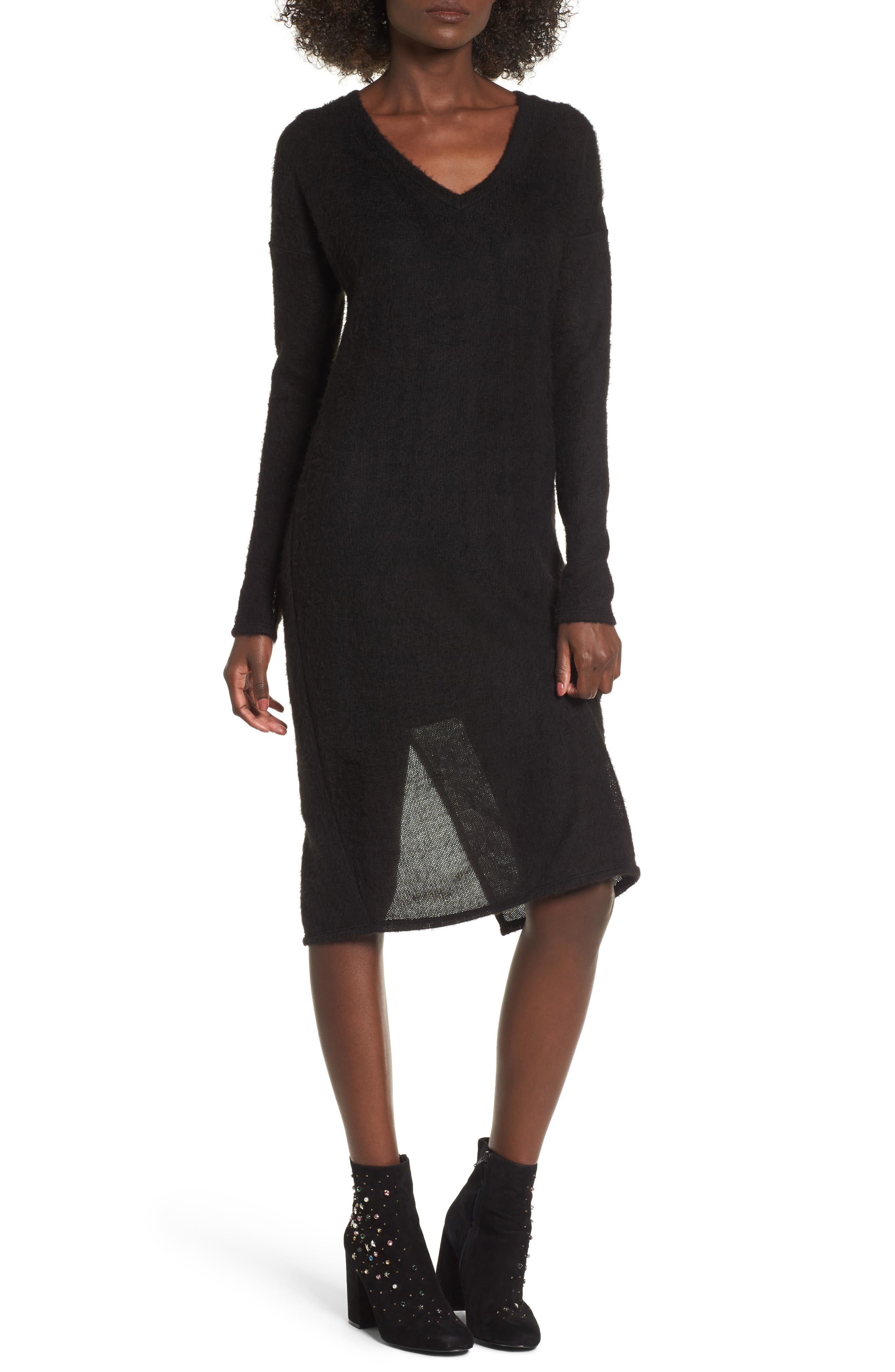 Main Image - Socialite Fuzzy Sweater Midi Dress