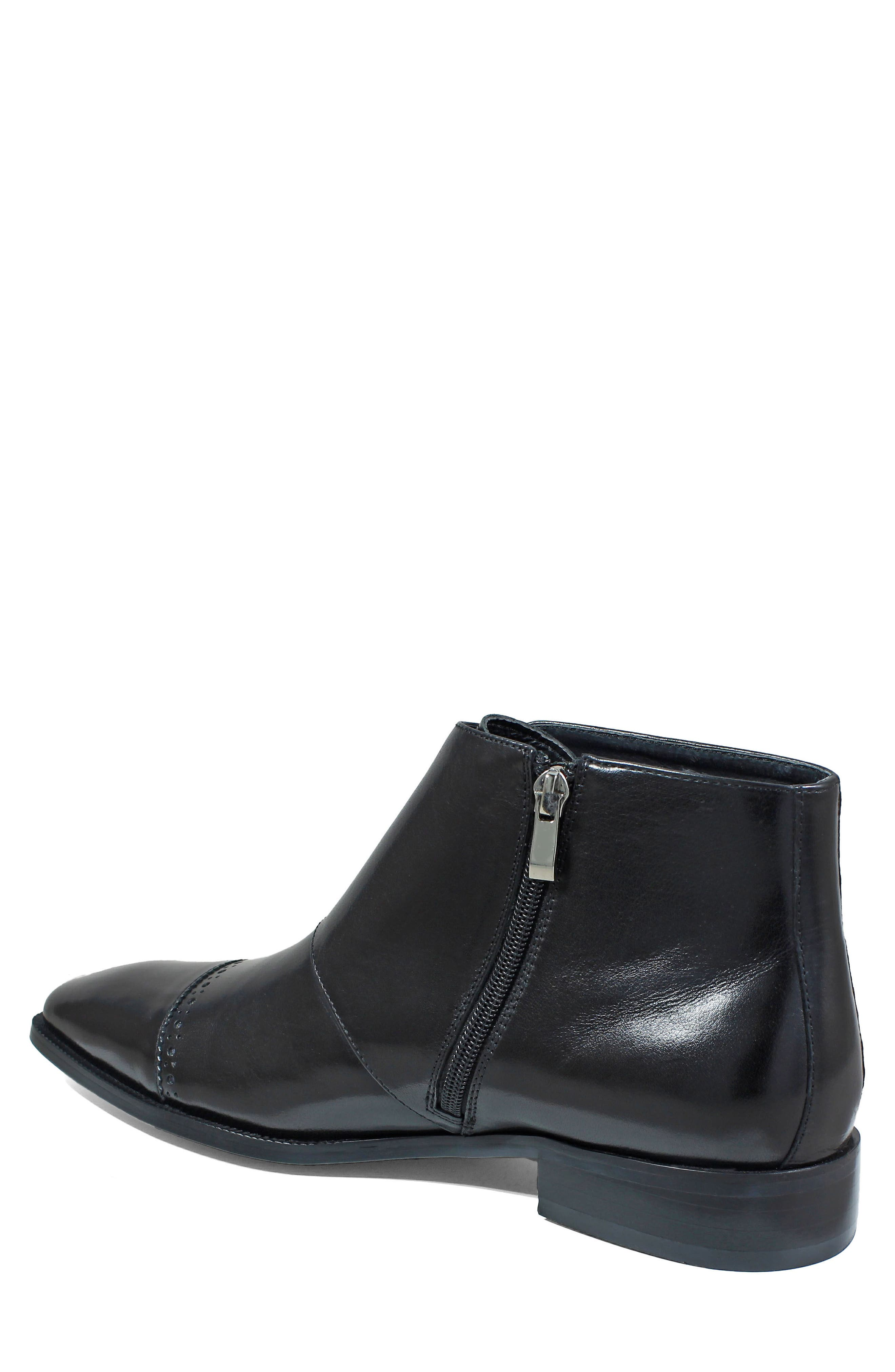Kason Double Monk Strap Boot,                             Alternate thumbnail 2, color,                             Black Leather