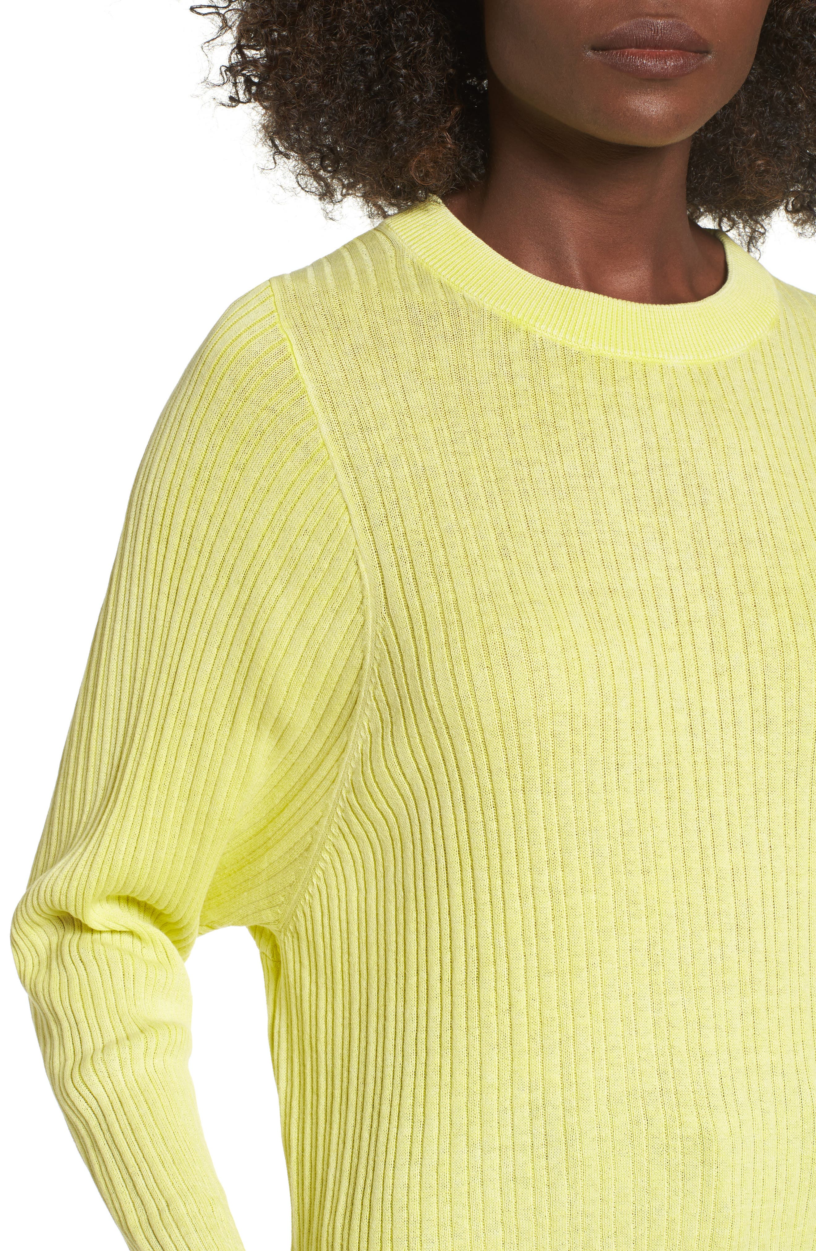 Crewneck Variegated Rib-Knit Sweater,                             Alternate thumbnail 4, color,                             Green Sulphur