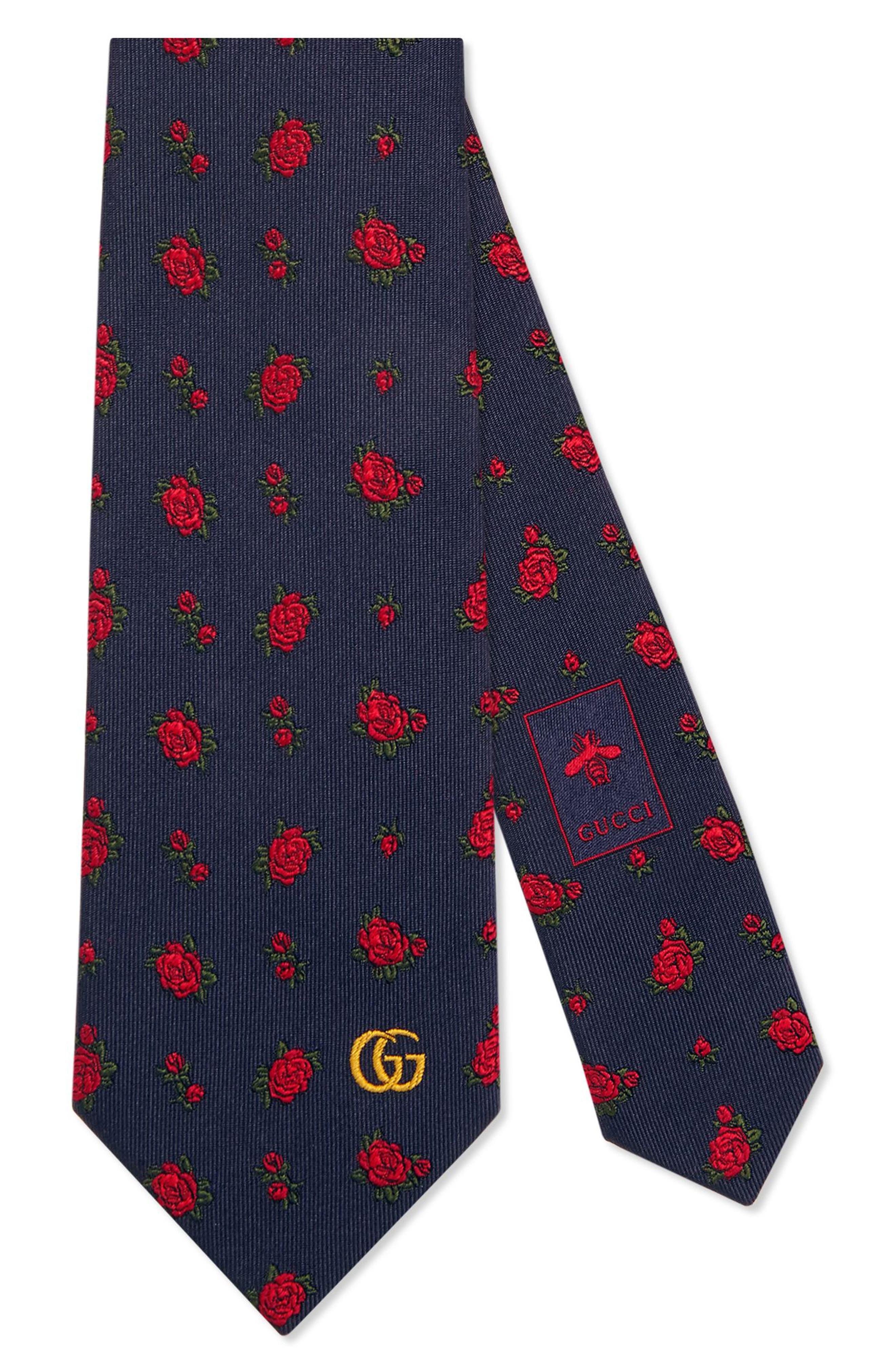 gucci tie. gucci rosebuds logo silk jacquard tie