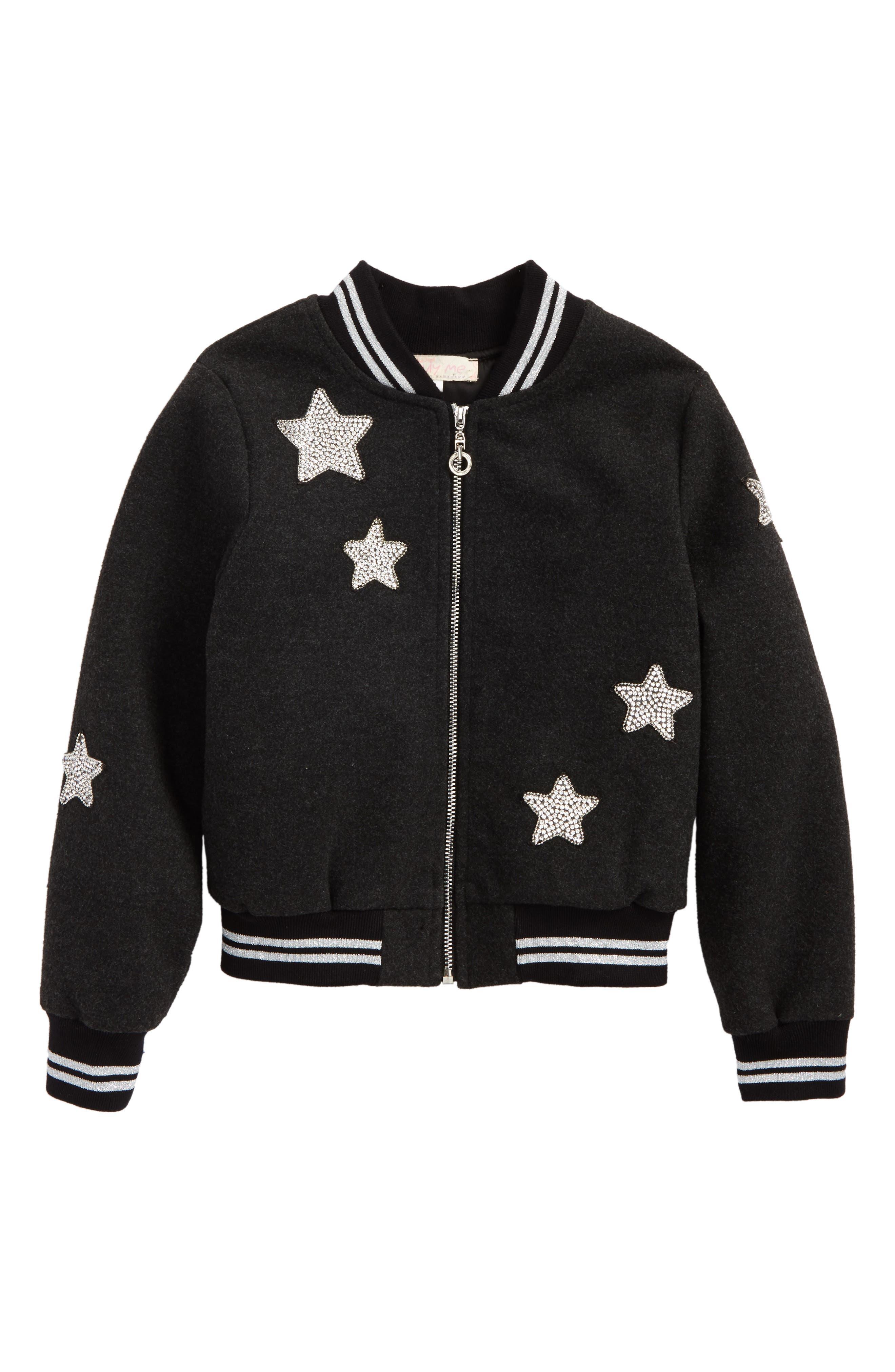 Star Patch Bomber Jacket,                         Main,                         color, Black