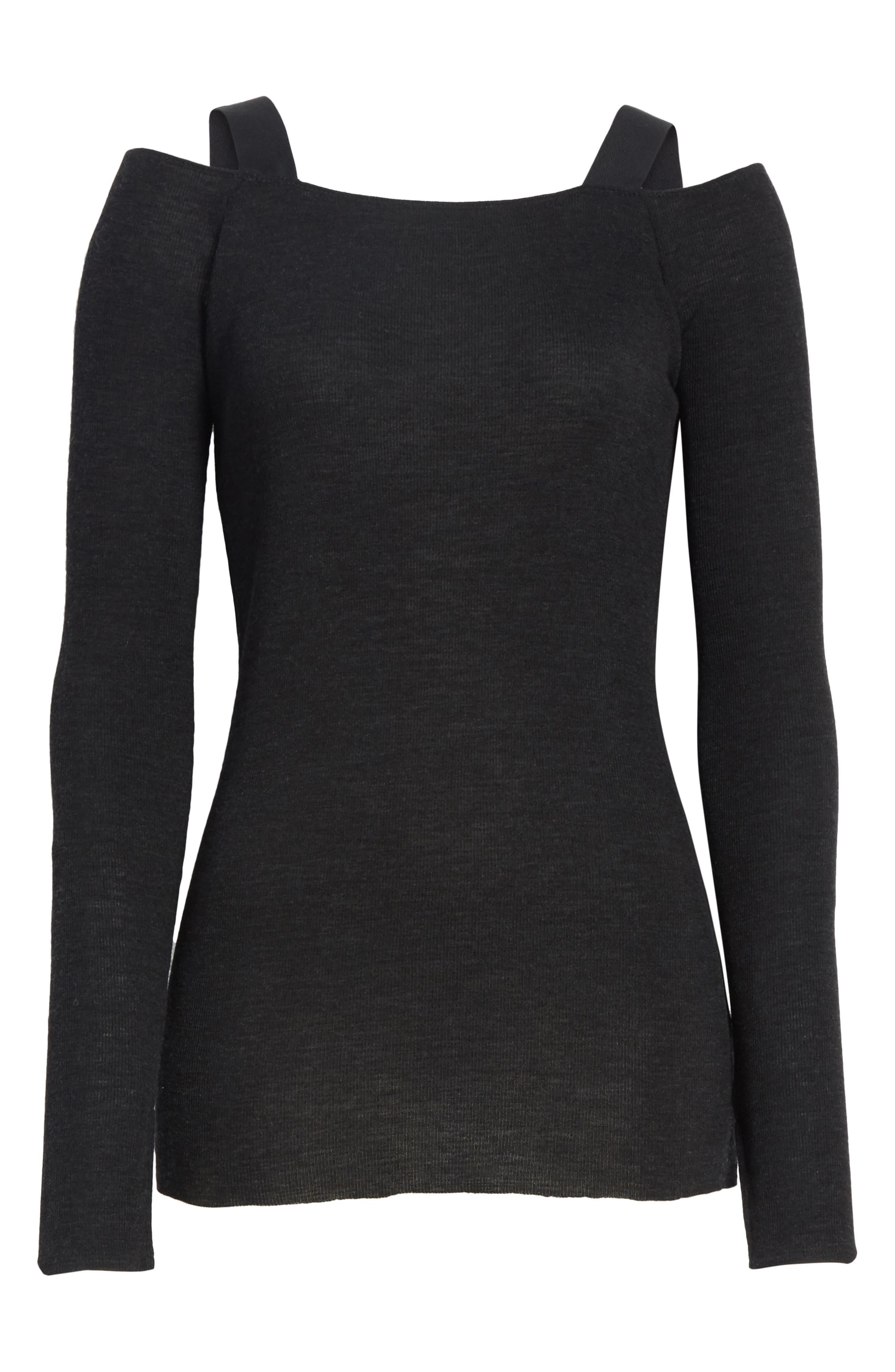 Surplus Off the Shoulder Knit Top,                             Alternate thumbnail 6, color,                             Black
