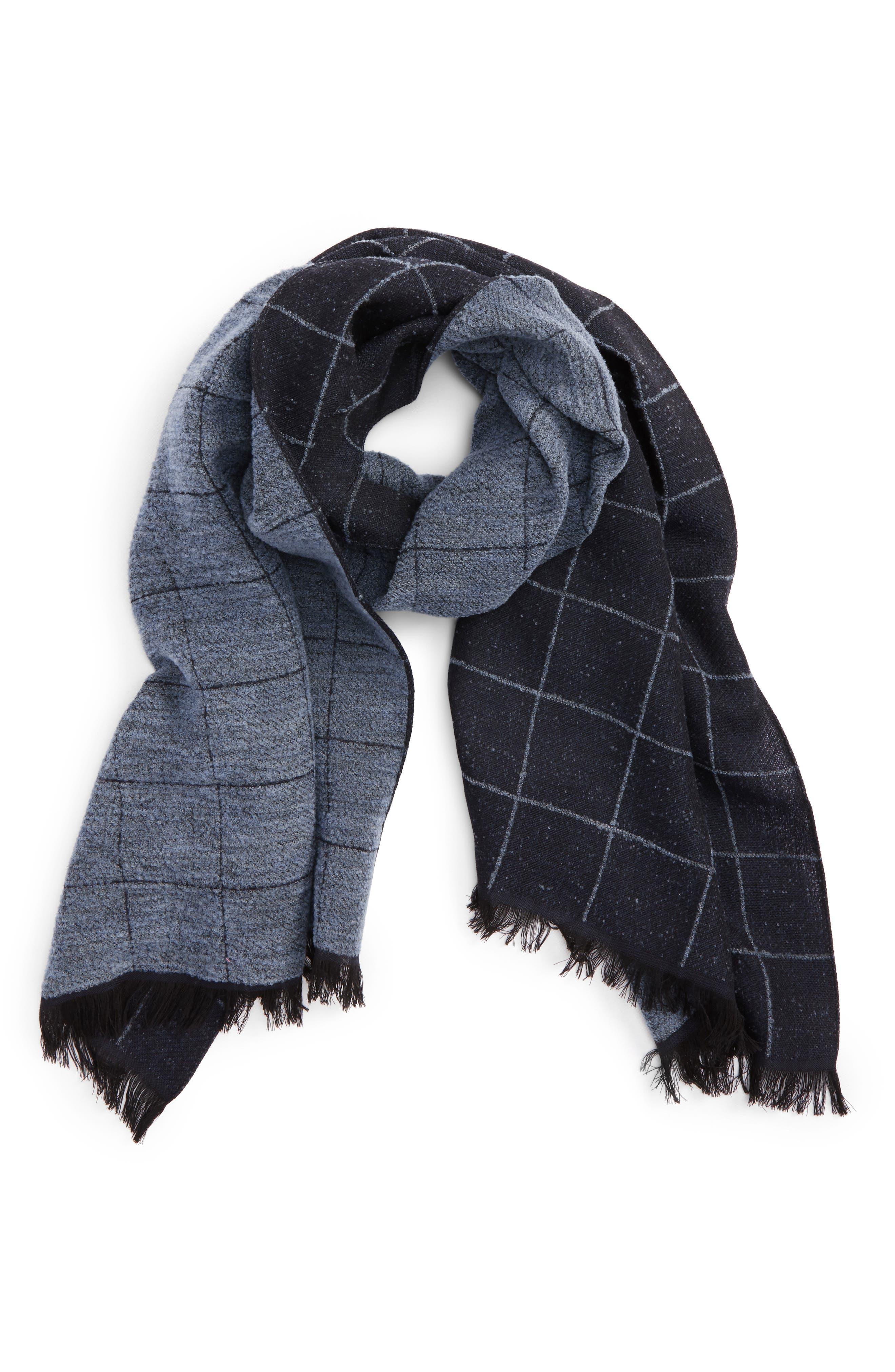 Windowpane Wool Blend Scarf,                         Main,                         color, Blue