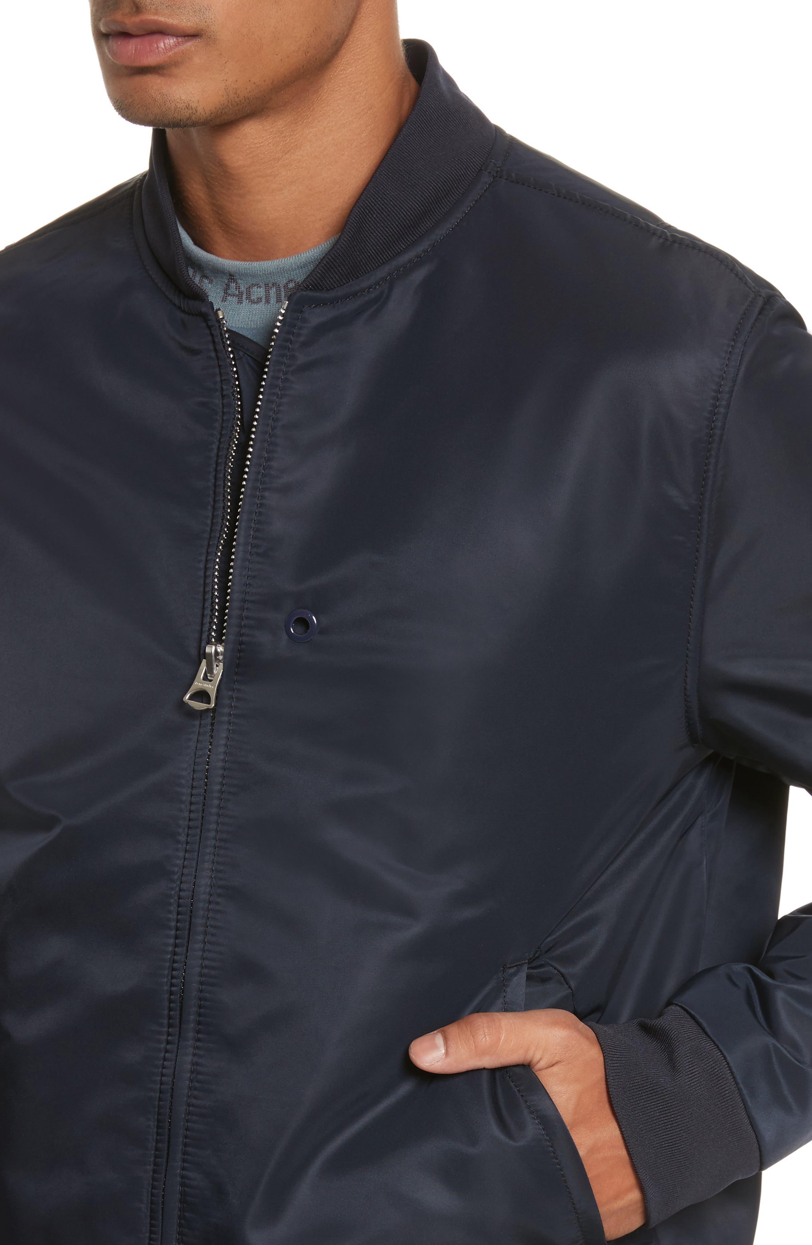 Nylon Bomber Jacket,                             Alternate thumbnail 3, color,                             Steel Blue