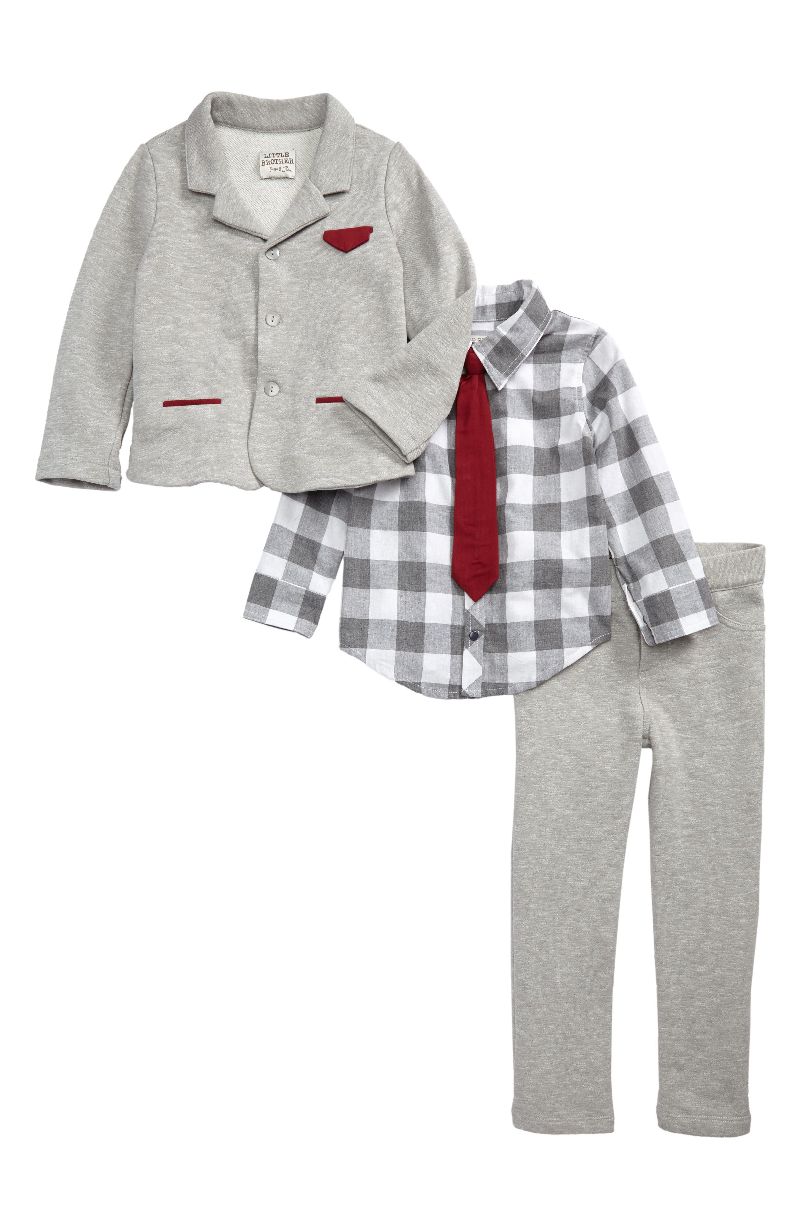 Little Brother by Pippa & Julie Check Shirt & Two-Piece Knit Suit Set (Toddler Boys)