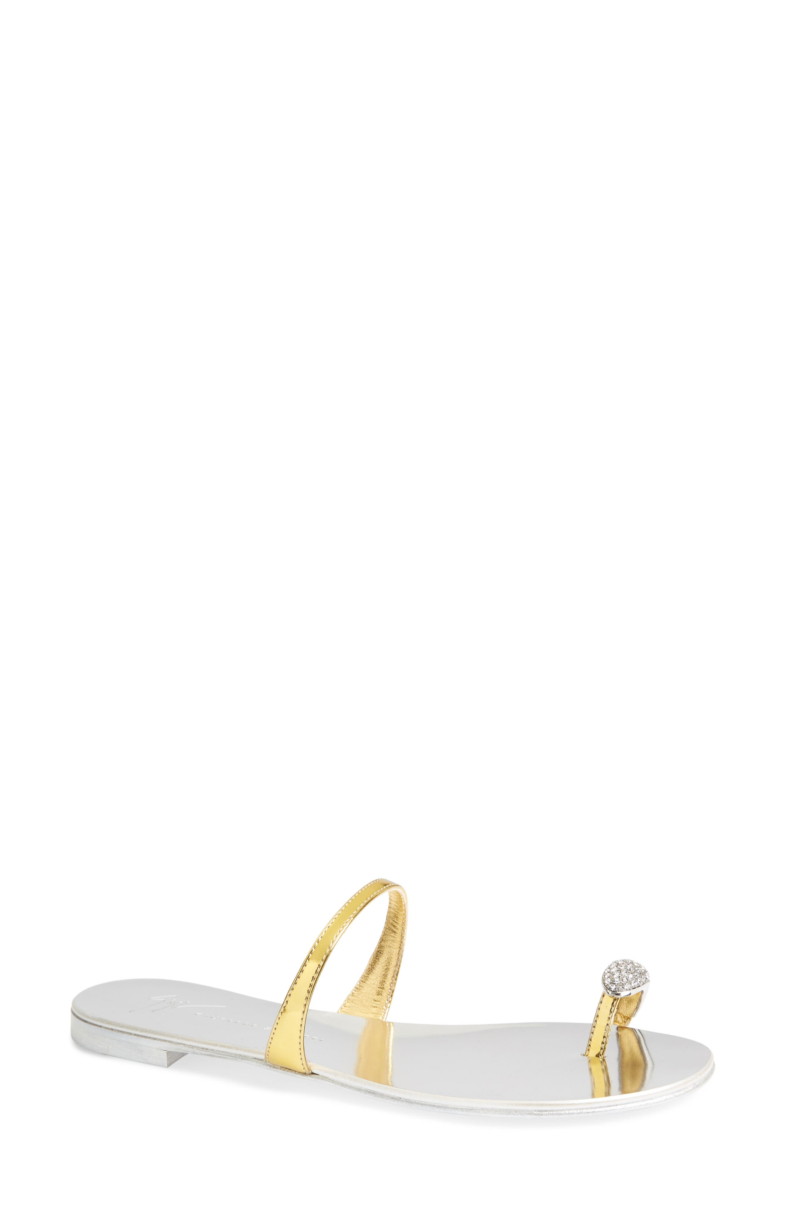 Nuvorock Crystal Embellished Toe Loop Sandal,                         Main,                         color, Gold