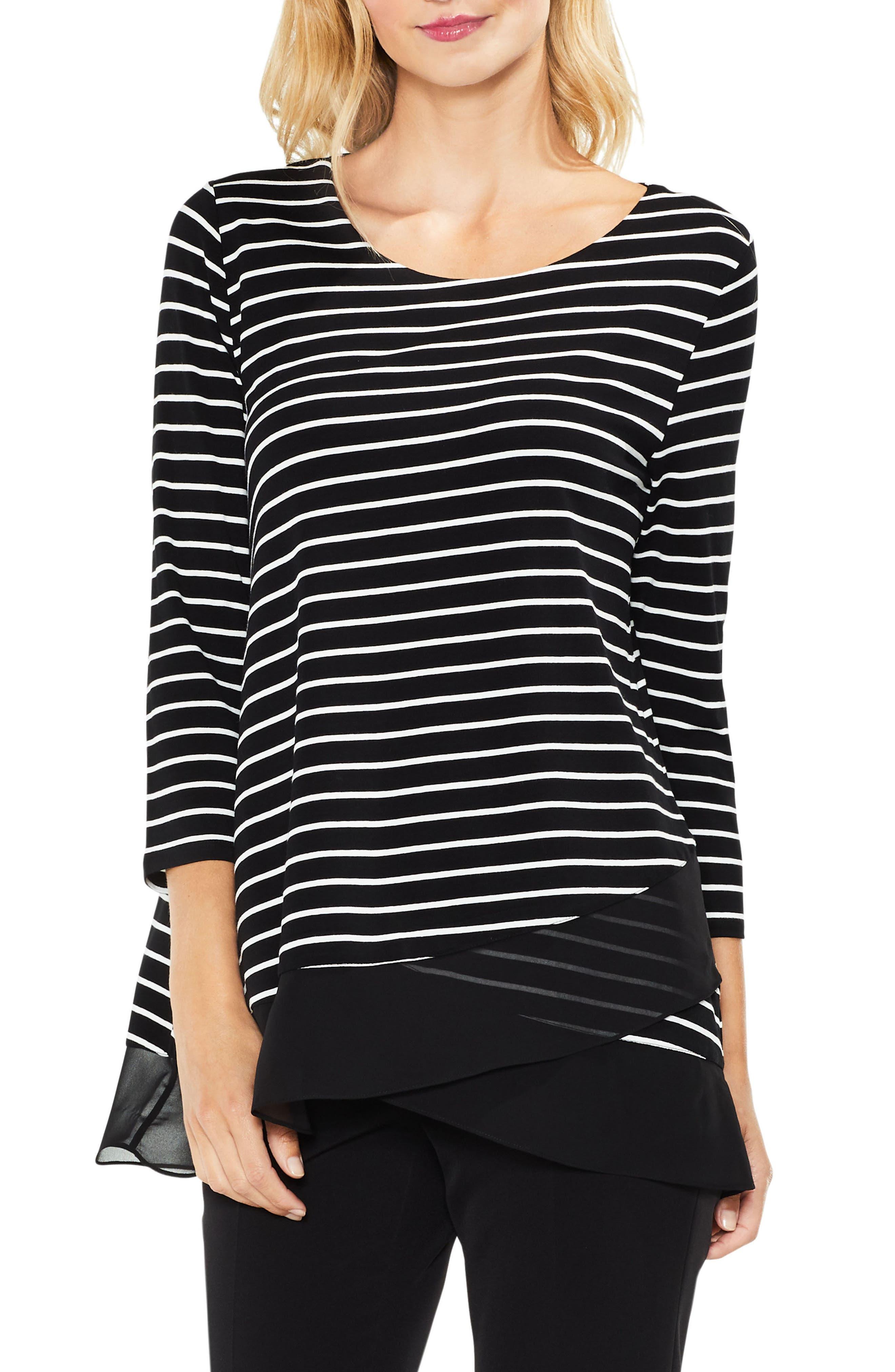 Chiffon Hem Stripe Top,                         Main,                         color, Rich Black