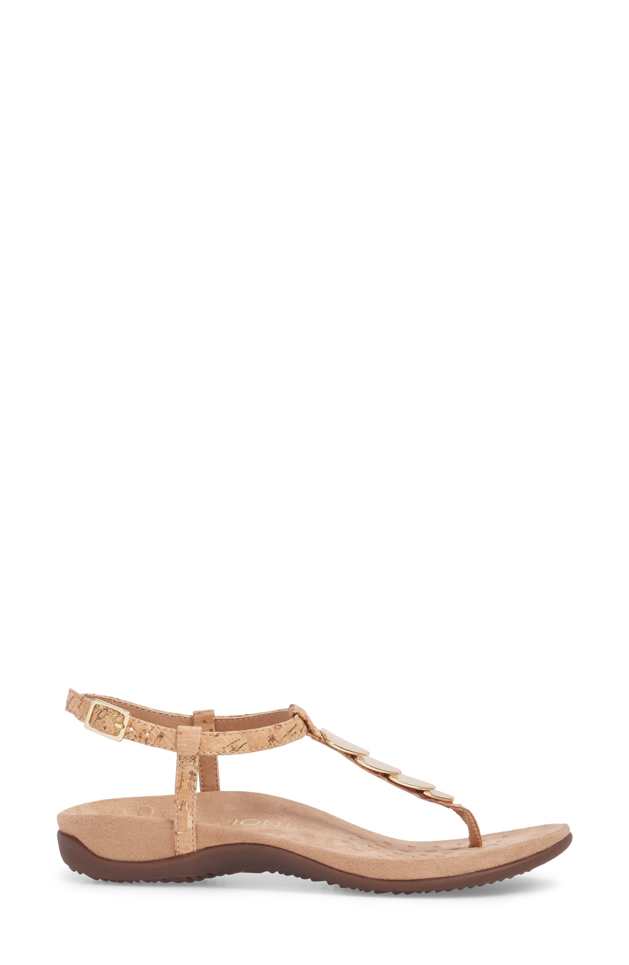 Miami T-Strap Sandal,                             Alternate thumbnail 3, color,                             Natural Cork Fabric