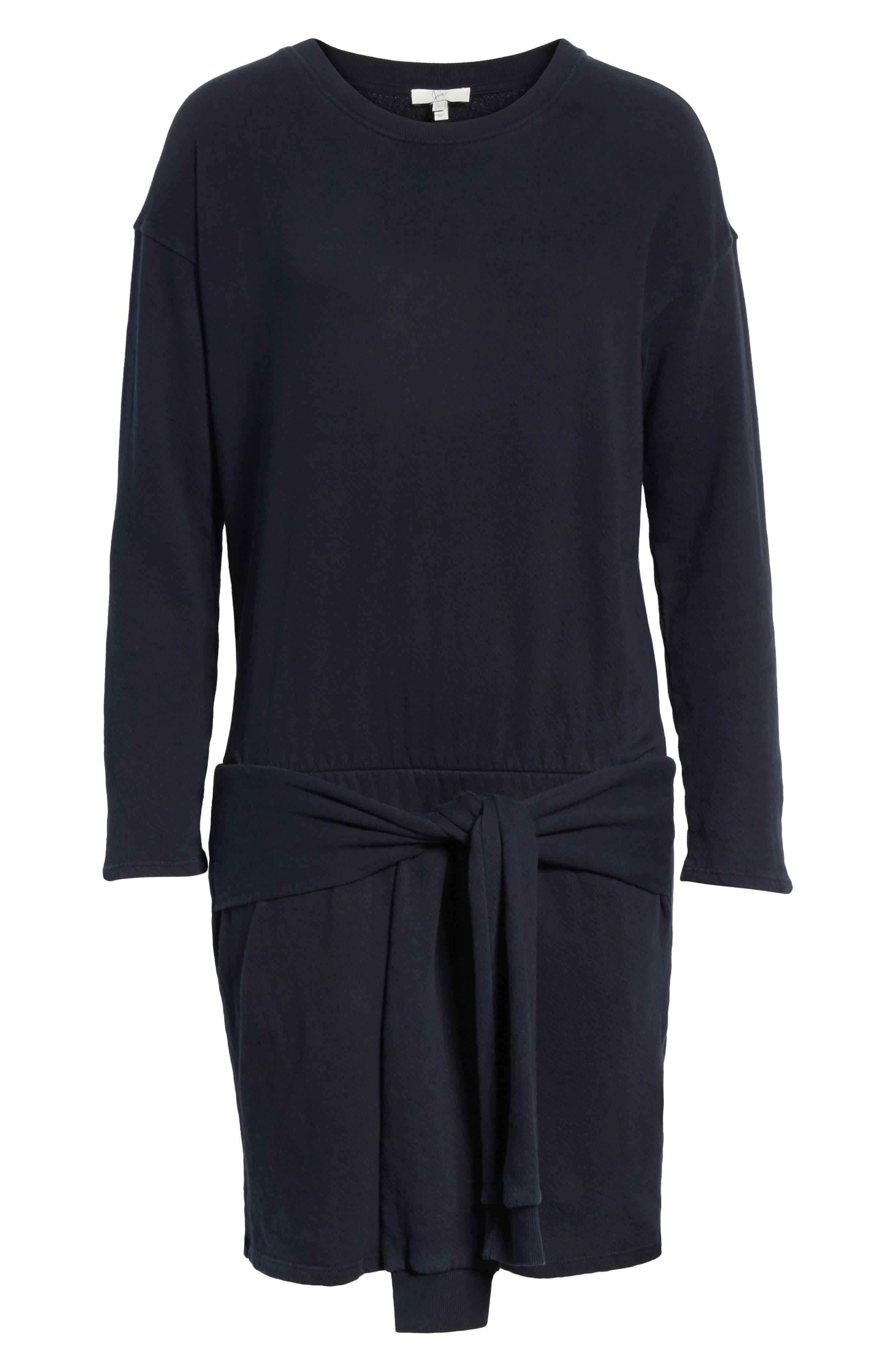 Lucya Tie Waist Cotton Minidress,                             Alternate thumbnail 6, color,                             Caviar