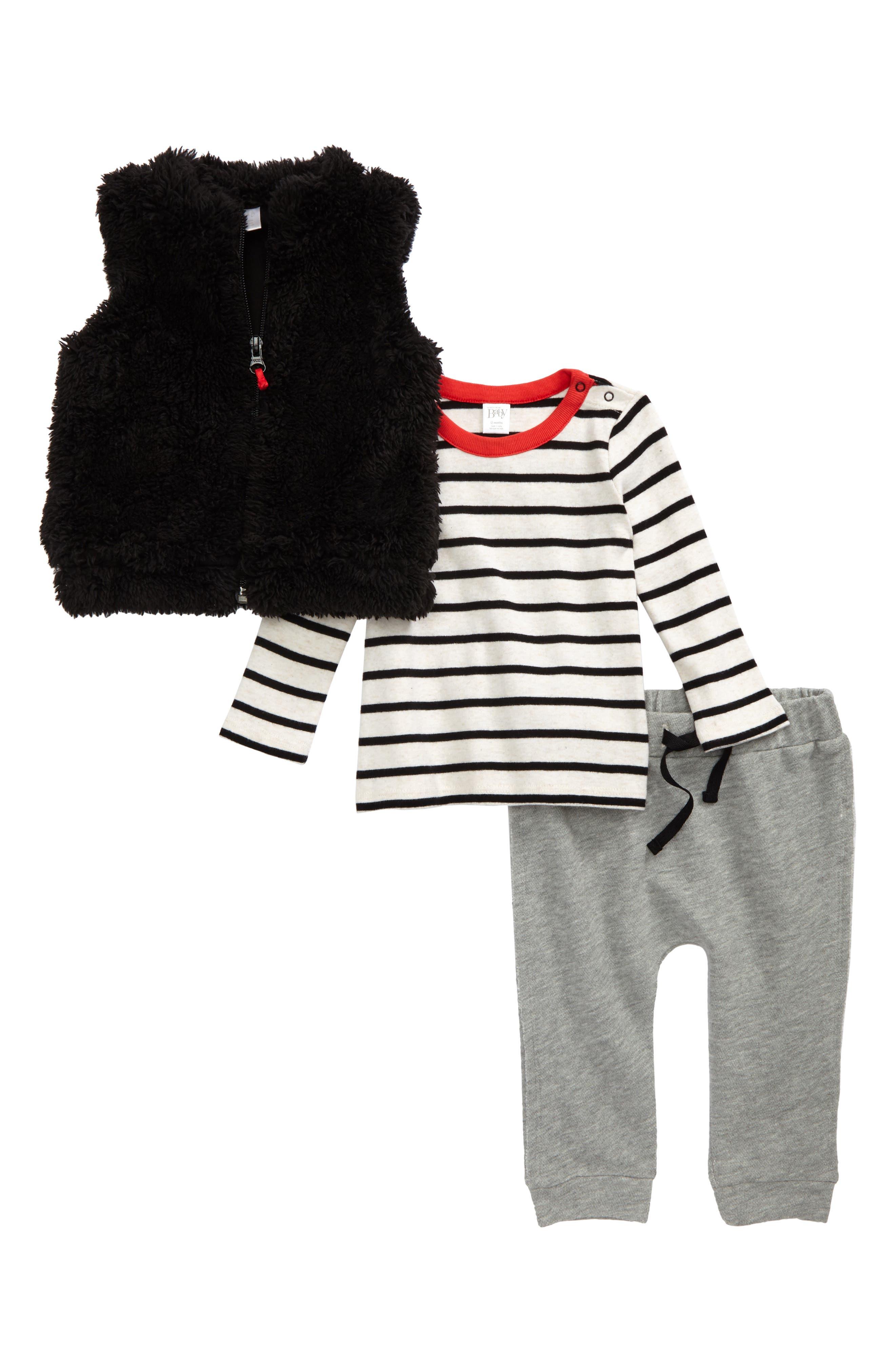 Stripe Shirt, Faux Fur Vest & Sweatpants Set,                         Main,                         color, Ivory- Black Breton Stripe