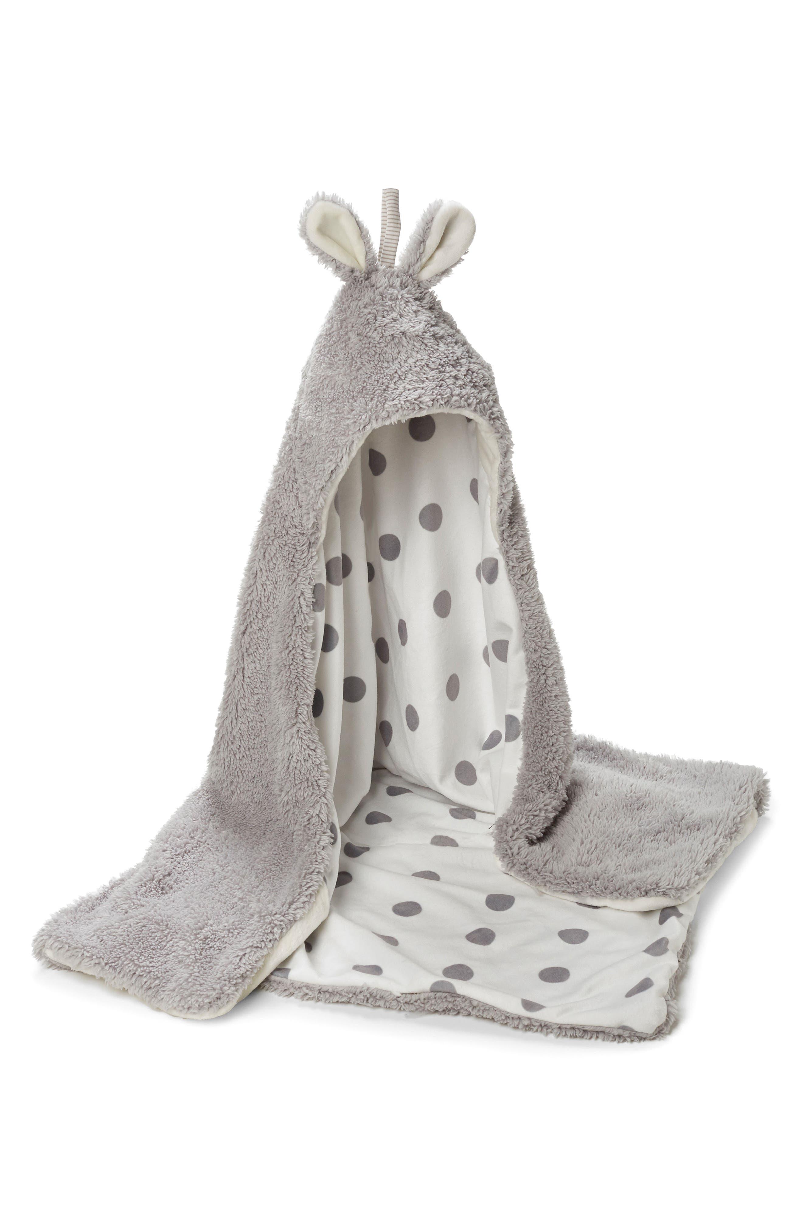 Bunny Hooded Blanket,                             Main thumbnail 1, color,                             Grady Grey