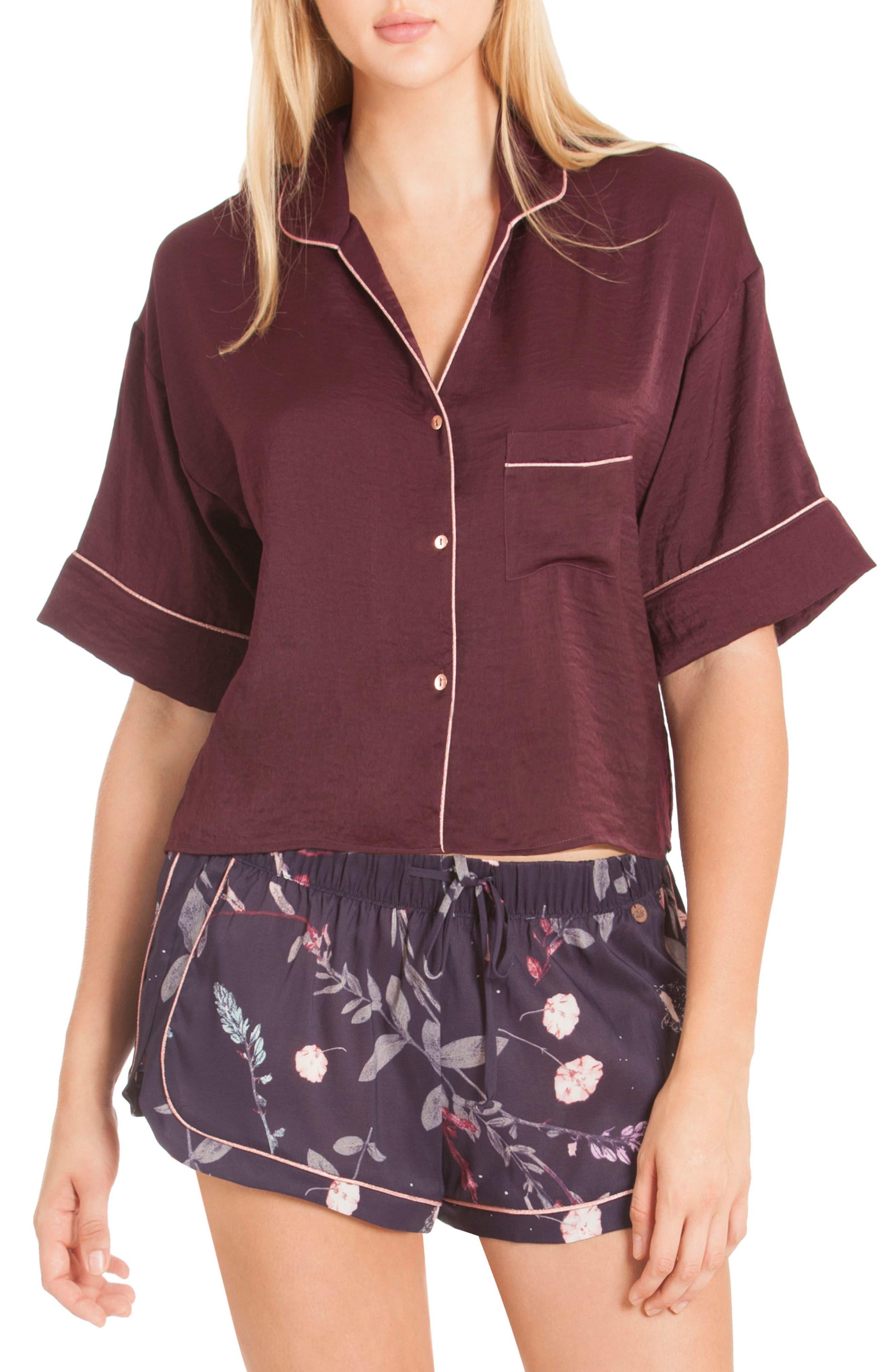 Crop Satin Pajama Top,                         Main,                         color, Scarlet