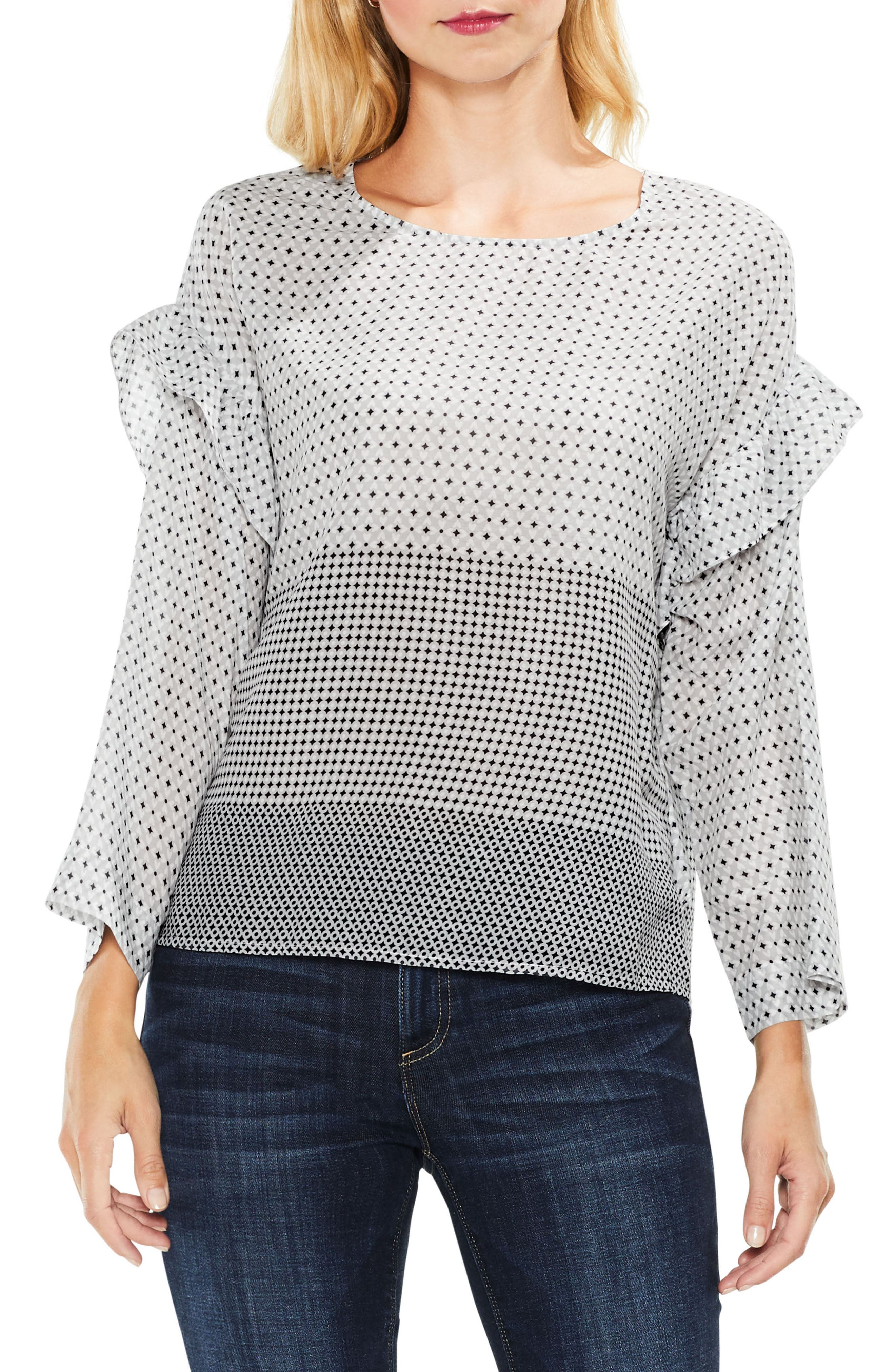 Two by VInce Camuto Quiet Tile Border Ruffle Top,                             Main thumbnail 1, color,                             Magnet