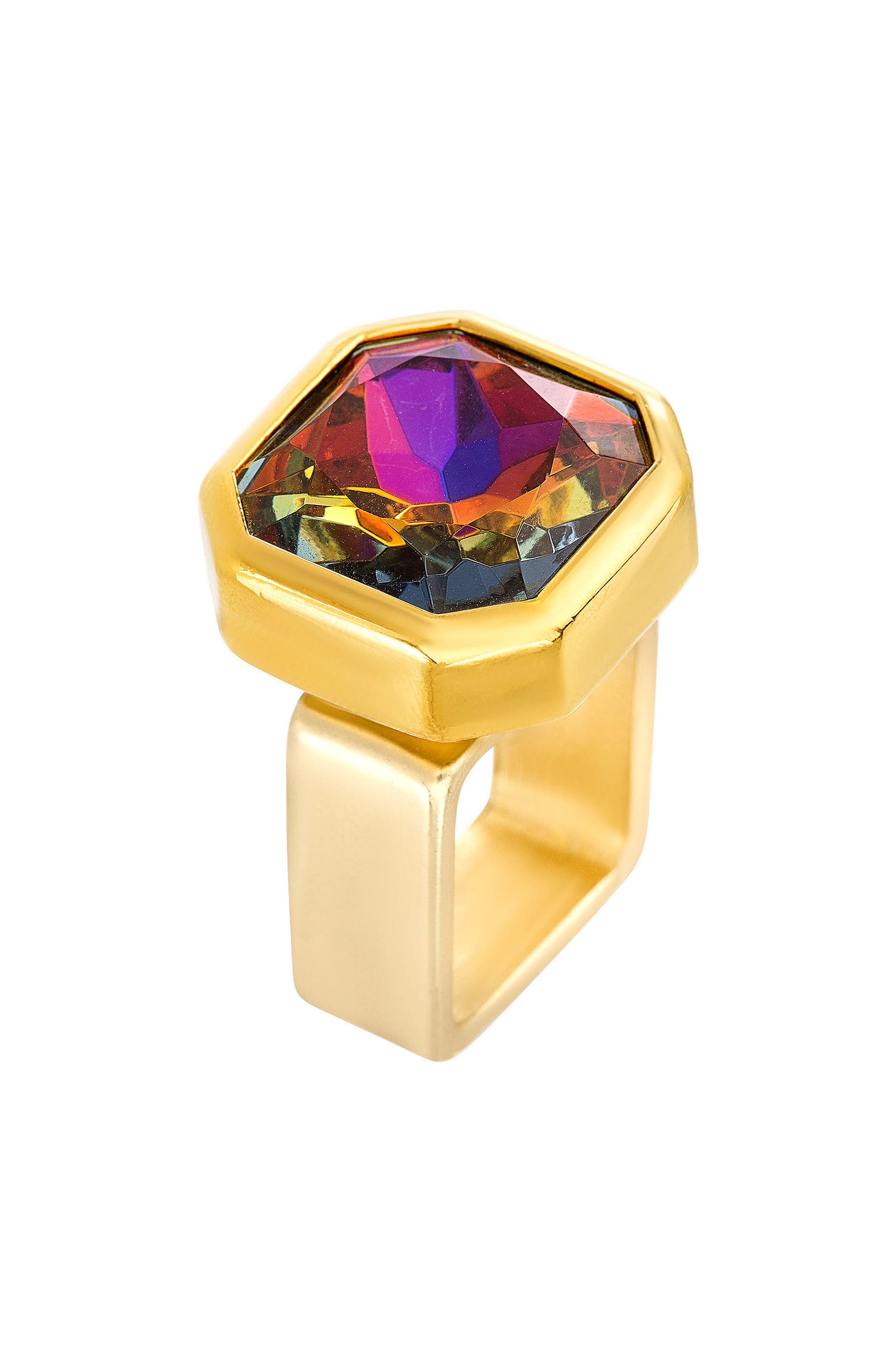 Square Crystal Ring,                         Main,                         color, Gold