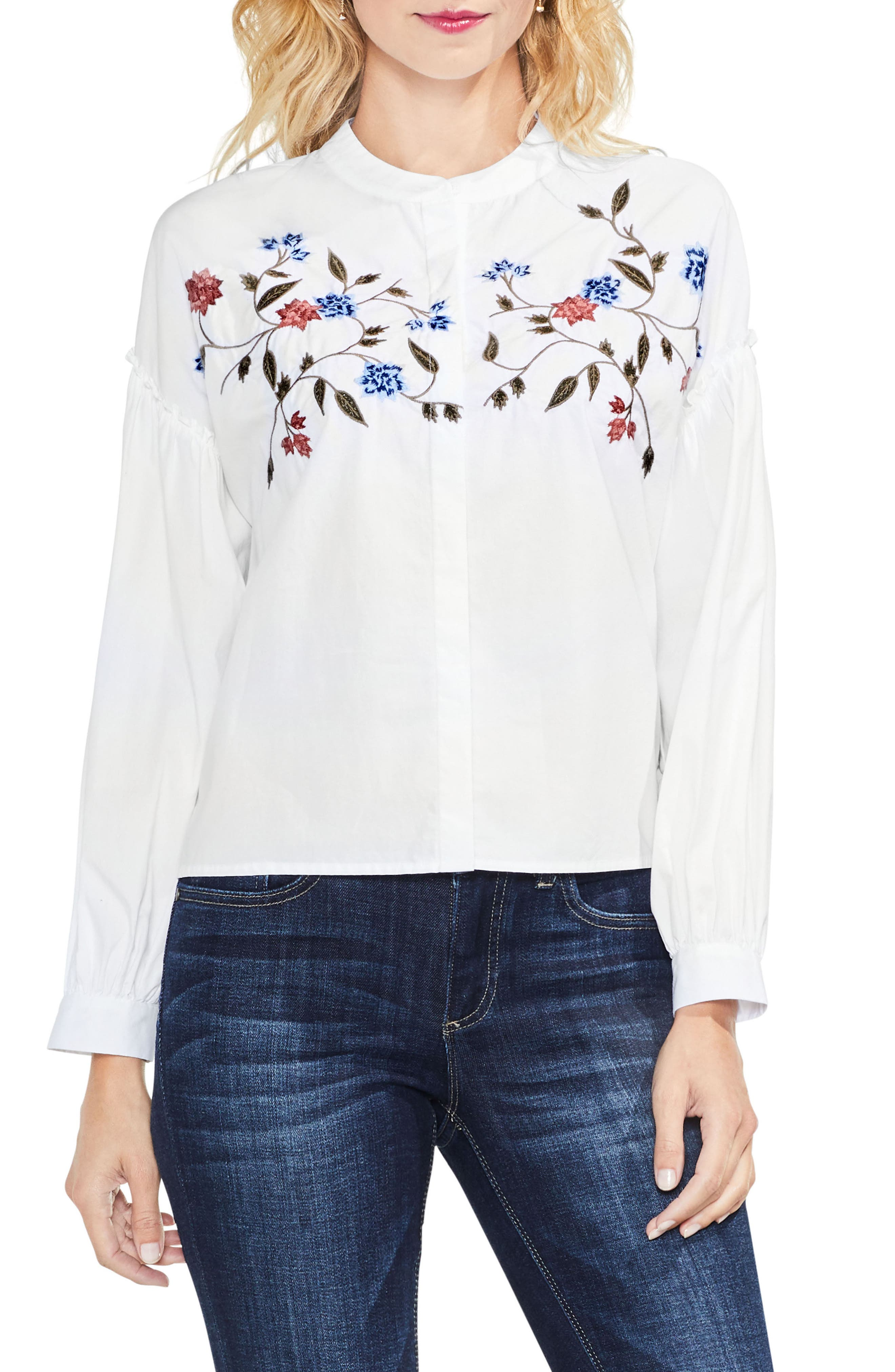 Two by Vince Camuto Embroidered Poplin Blouse (Regular & Petite)