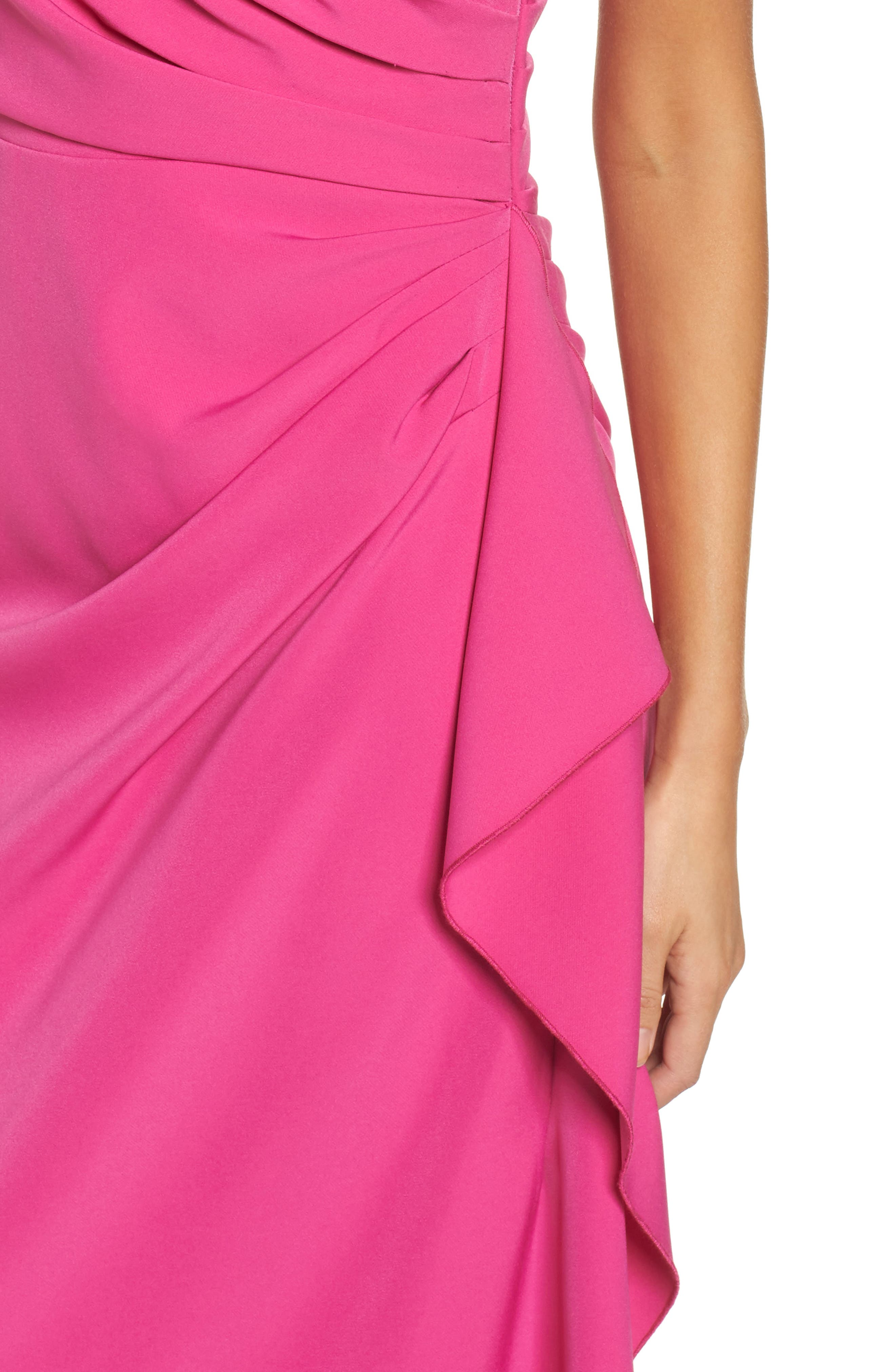 Off the Shoulder Crepe Gown,                             Alternate thumbnail 4, color,                             Fuchsia