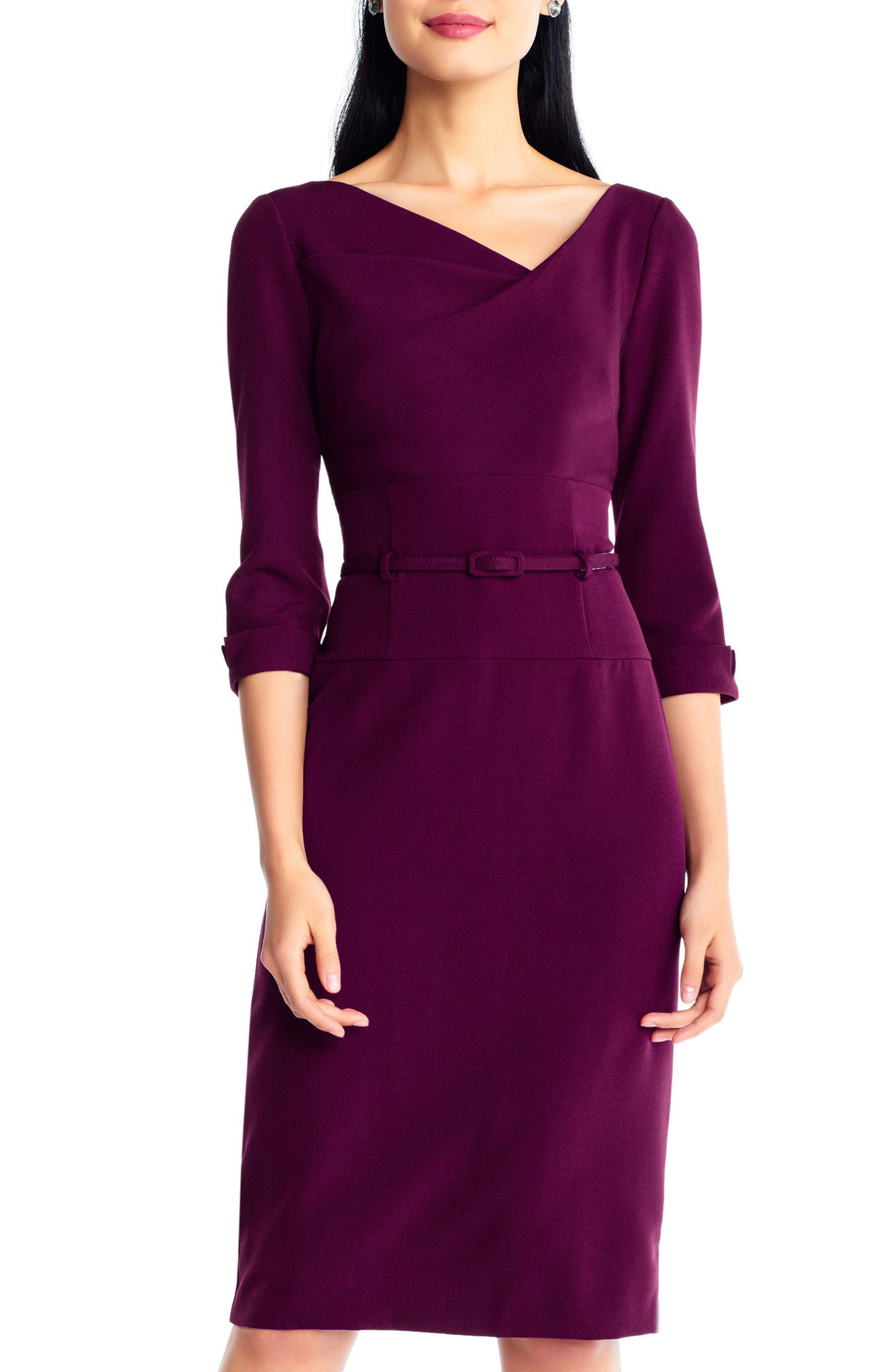 Belted Crepe Sheath Dress,                         Main,                         color, Red