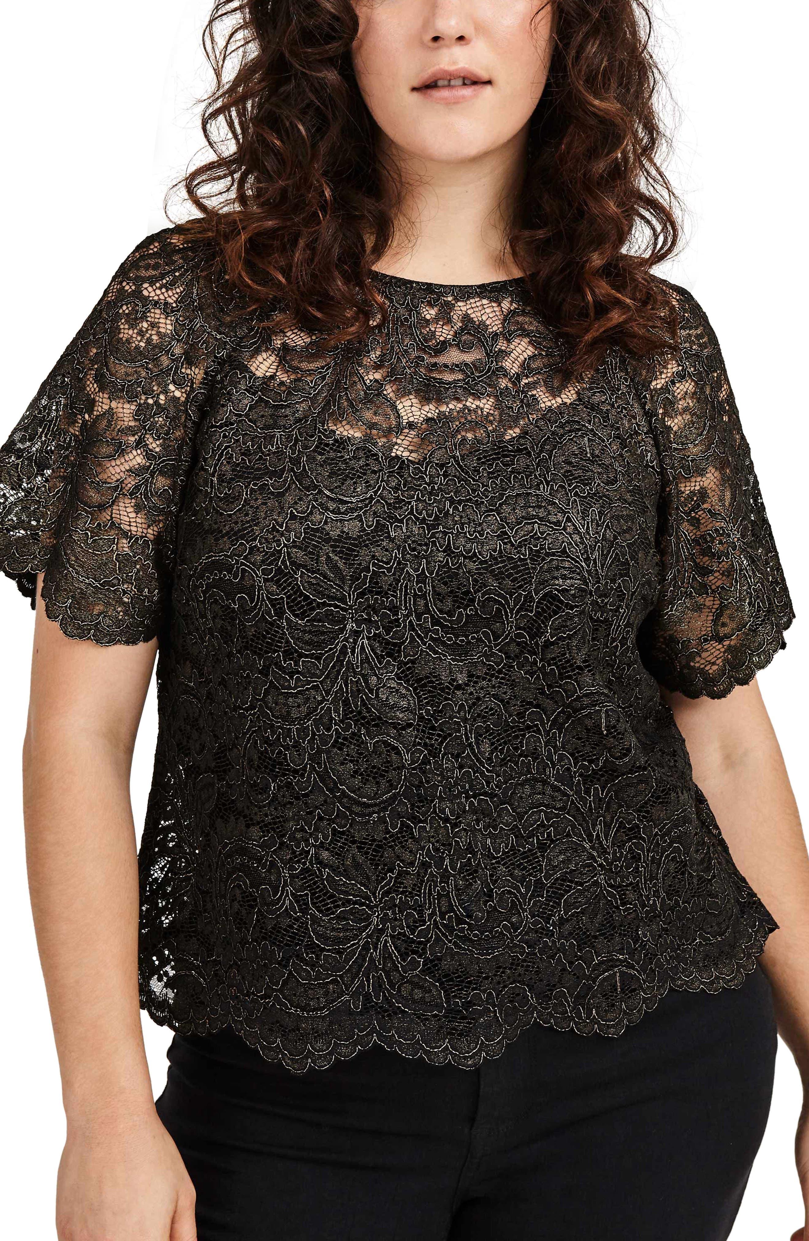 V-Back Lace Top,                         Main,                         color, Black Gold