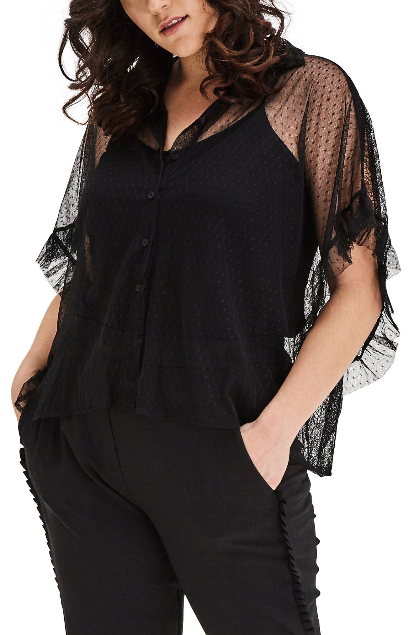 Alternate Image 1 Selected - ELVI Mixed Lace Shirt (Plus Size)