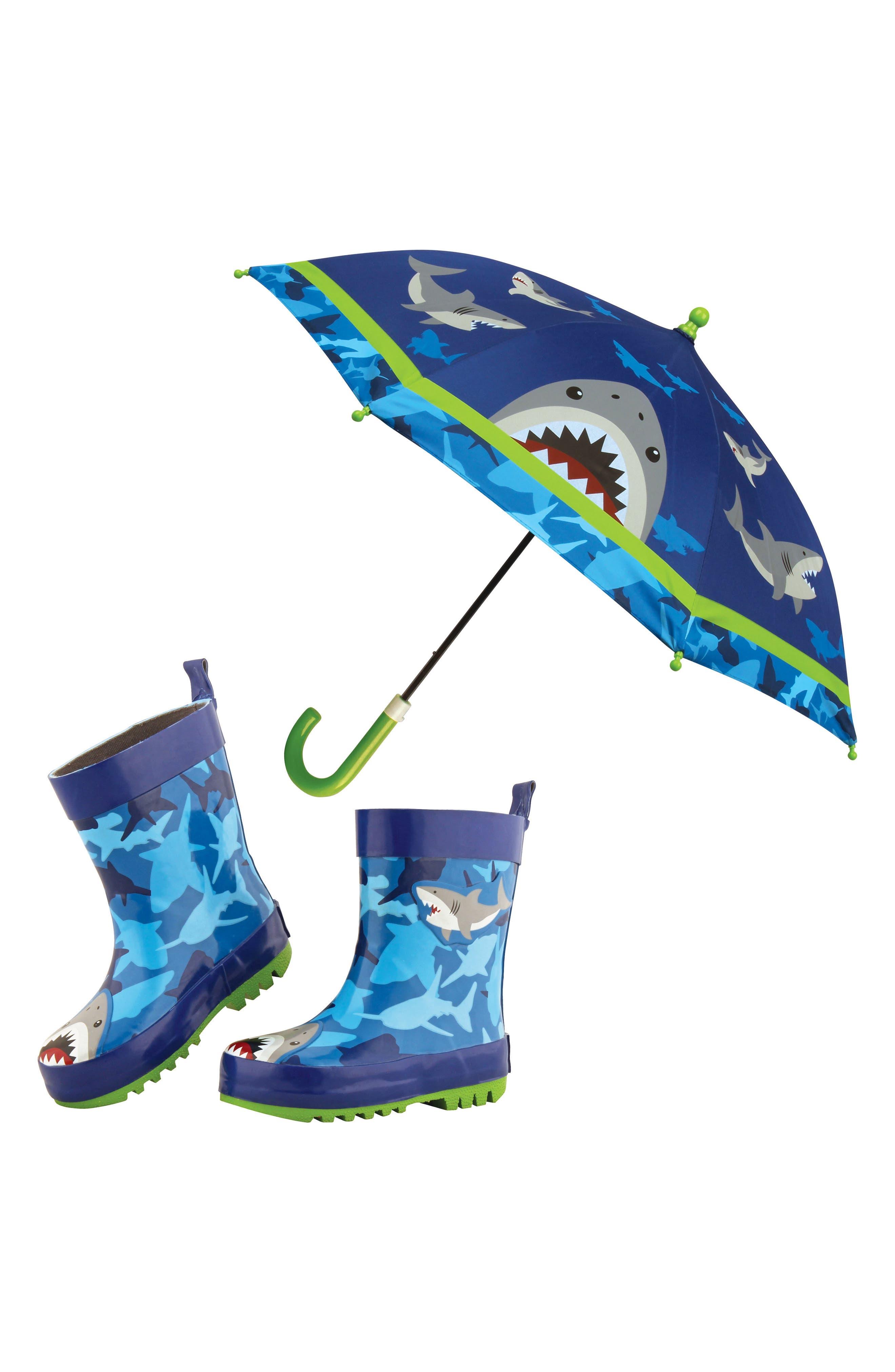 Alternate Image 1 Selected - Stephen Joseph Shark Rain Boots & Umbrella Set (Little Boys & Big Boys)