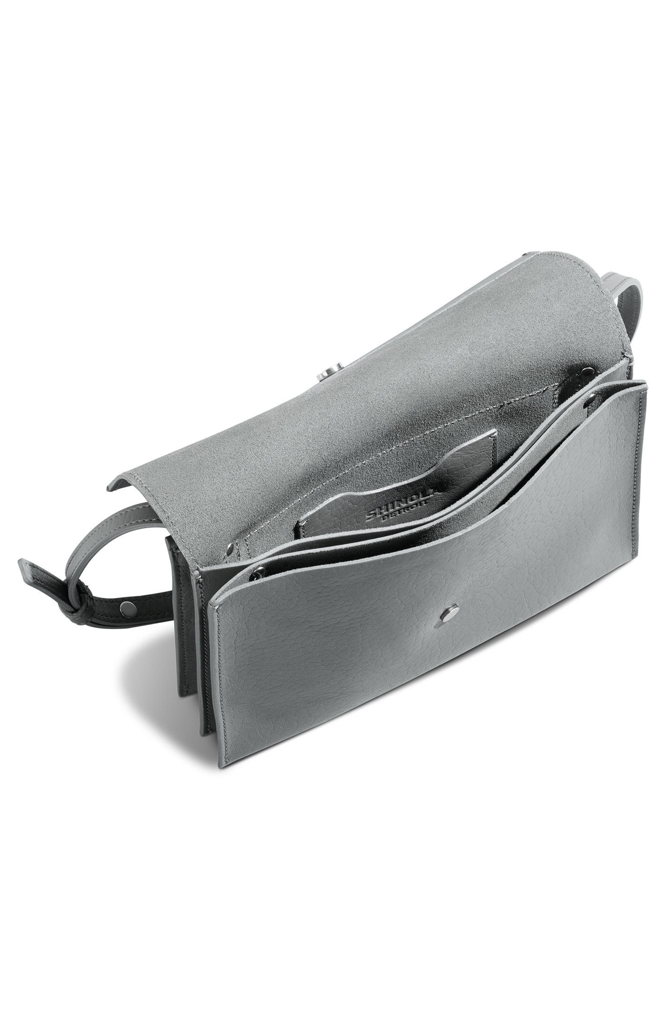 Crossbody Leather Bag,                             Alternate thumbnail 3, color,                             Cool Grey