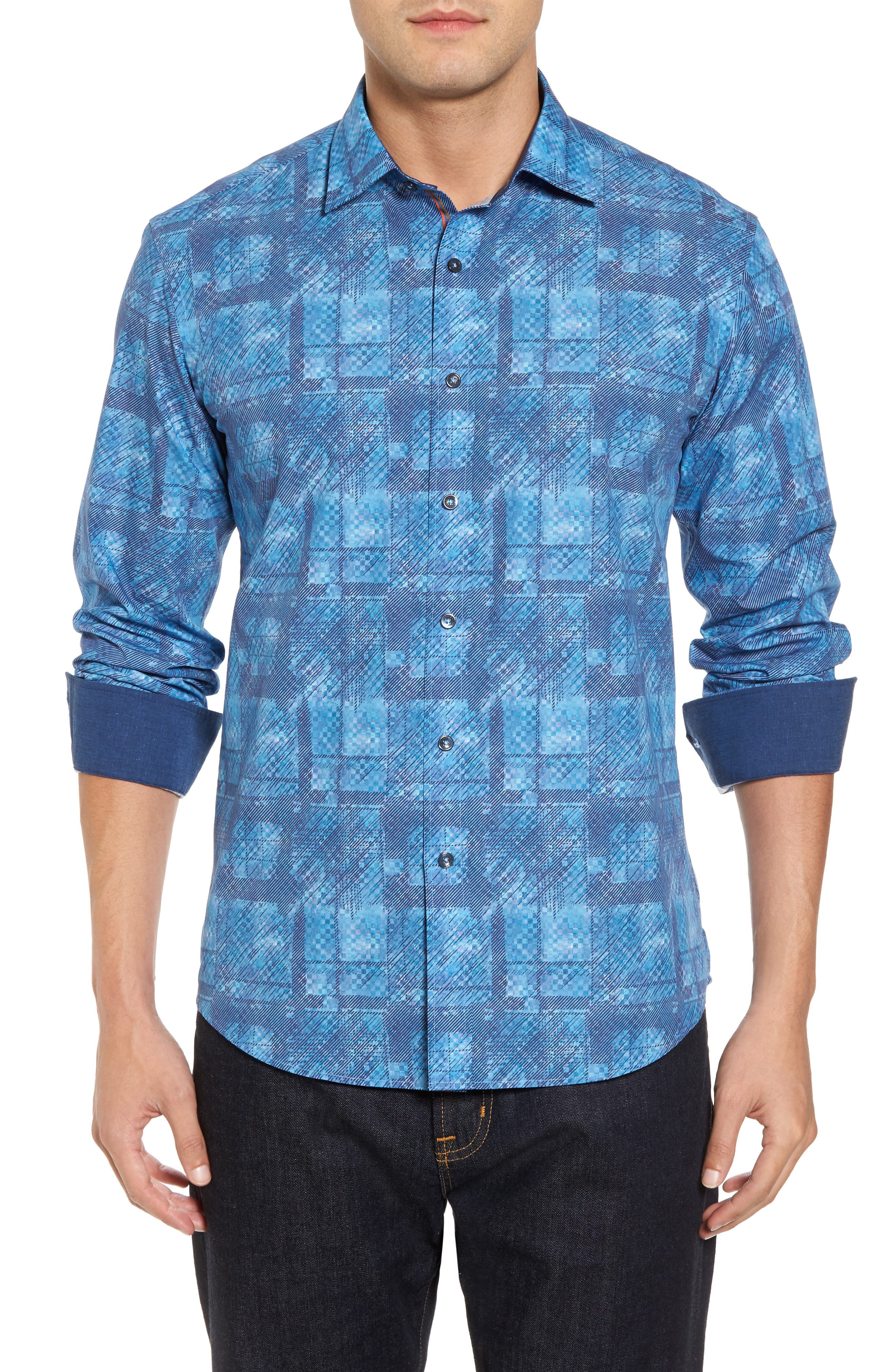 Shaped Fit Print Sport Shirt,                             Main thumbnail 1, color,                             Turquoise