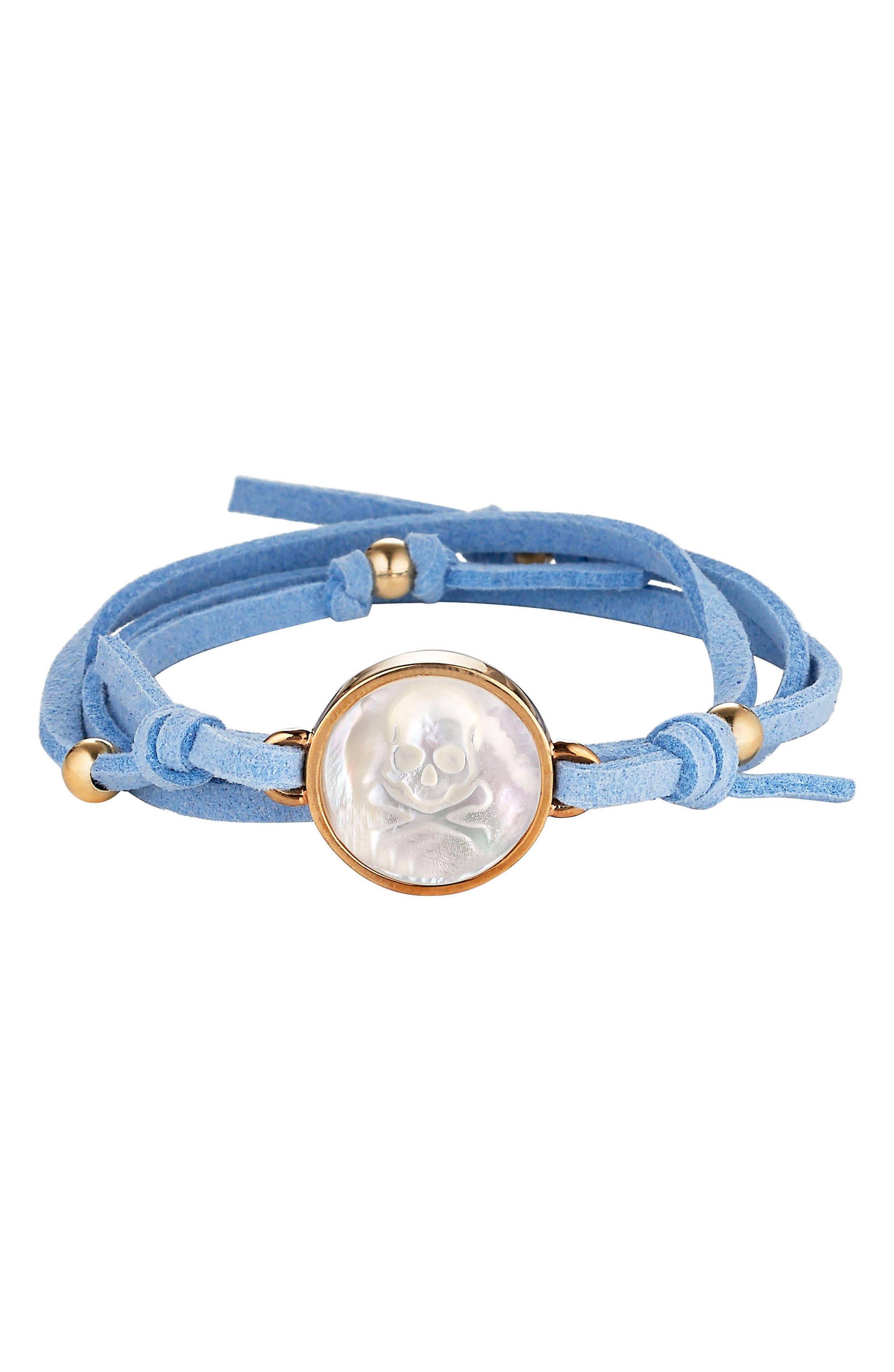 Skull & Bones Suede Wrap Bracelet,                             Main thumbnail 1, color,                             Light Blue Skull