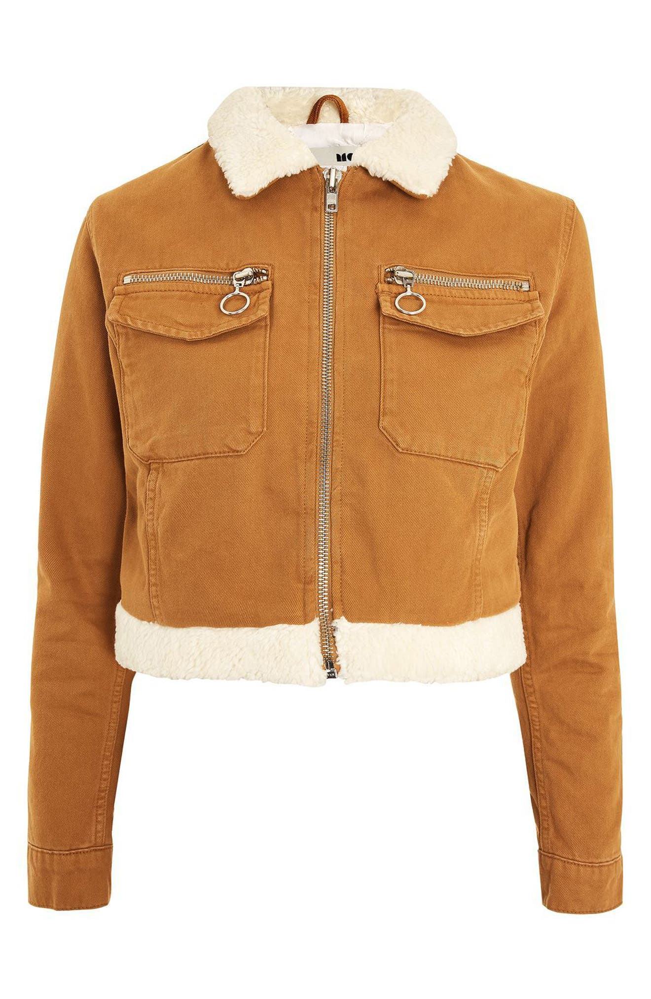 Borg Trim Crop Denim Jacket,                             Alternate thumbnail 5, color,                             Tan