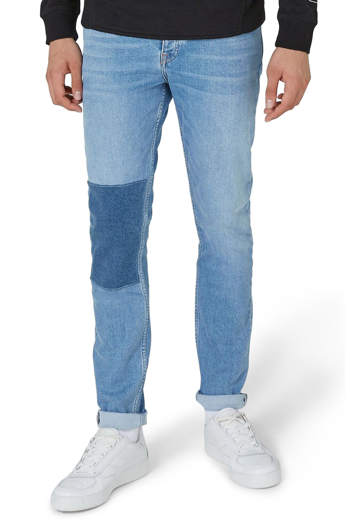 Patch Stretch Skinny Jeans,                         Main,                         color, Blue