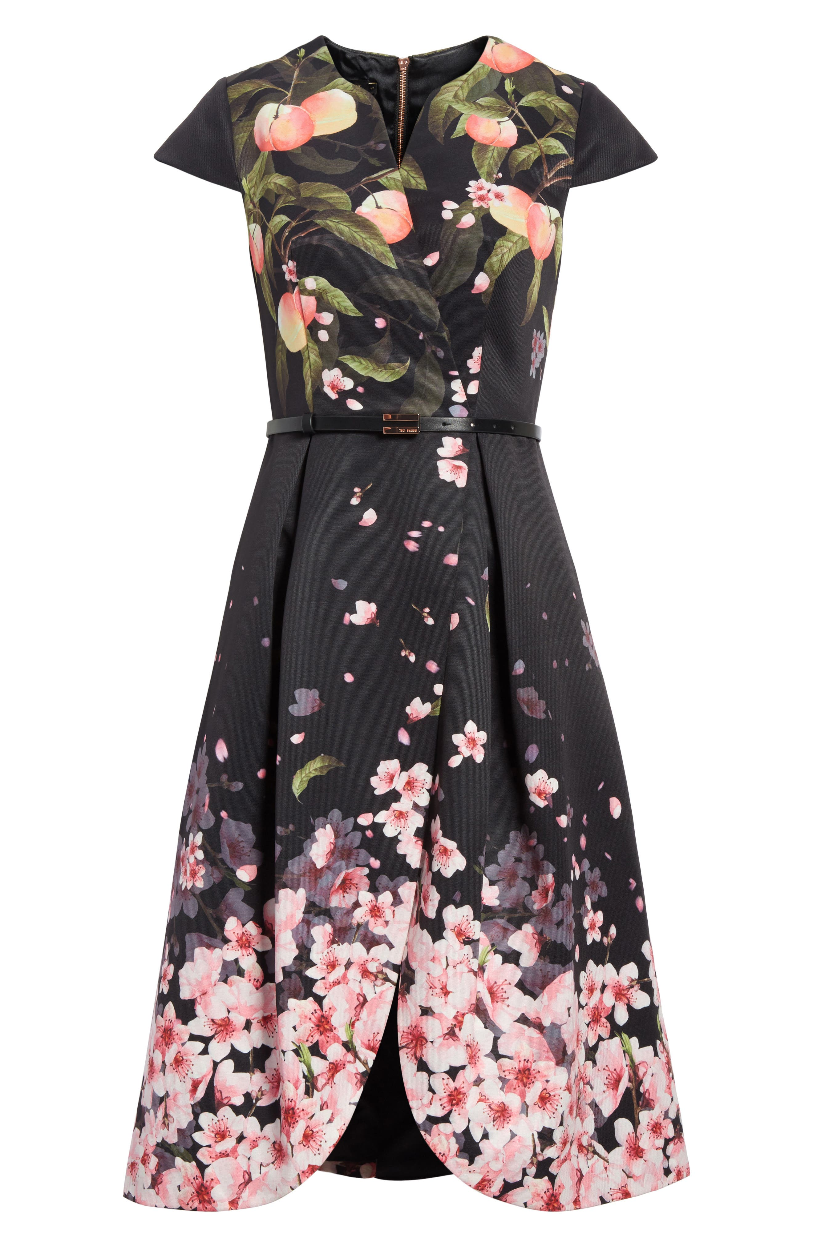 Peach Blossom Faux Wrap Midi Dress,                             Alternate thumbnail 6, color,                             Black