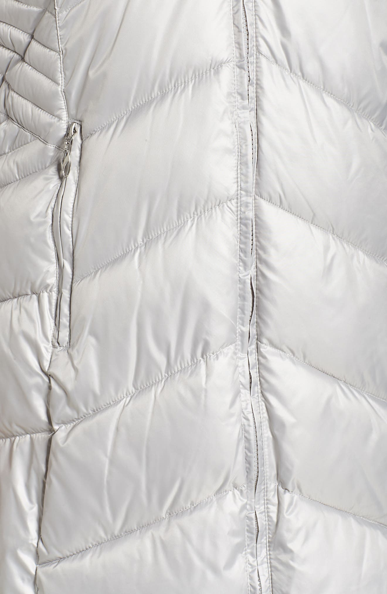 Faux Fur Trim Quilted Parka,                             Alternate thumbnail 5, color,                             Pearl