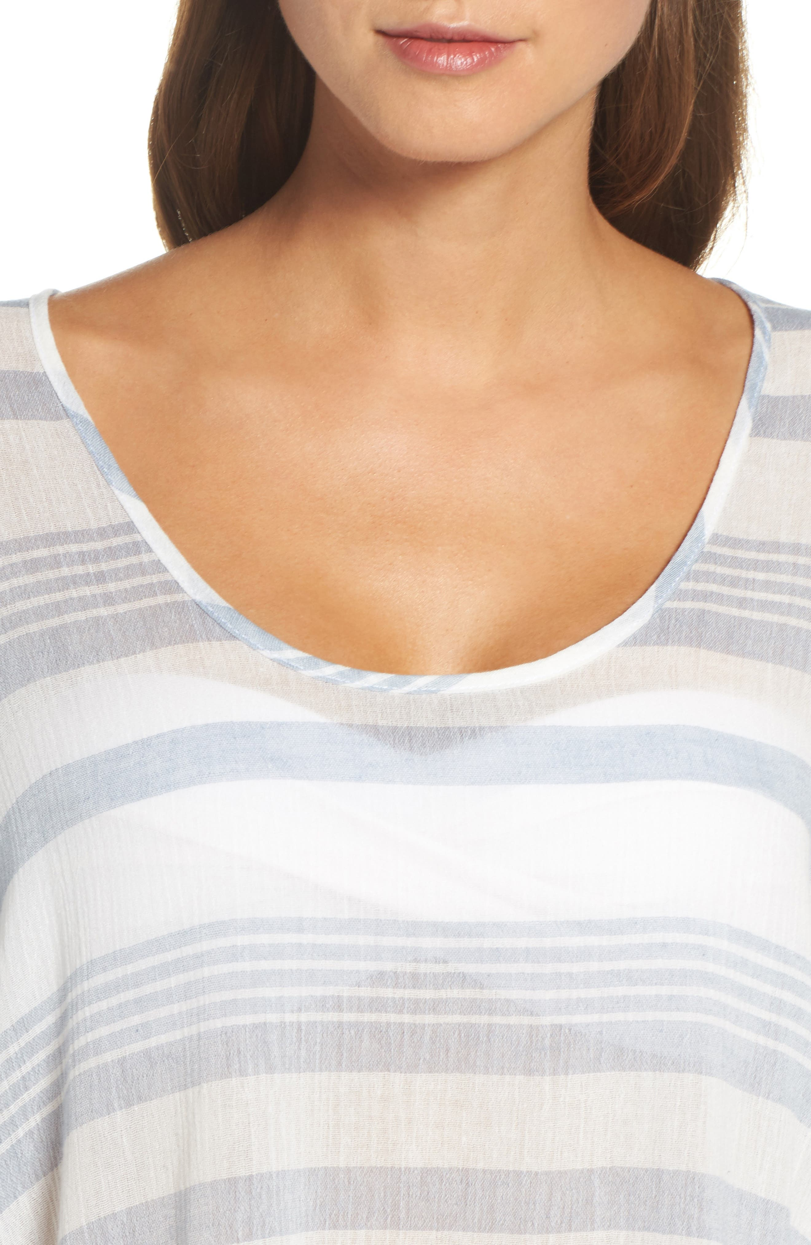 Stripe Poncho Cover-Up,                             Alternate thumbnail 4, color,                             Dusty Blue Stripe