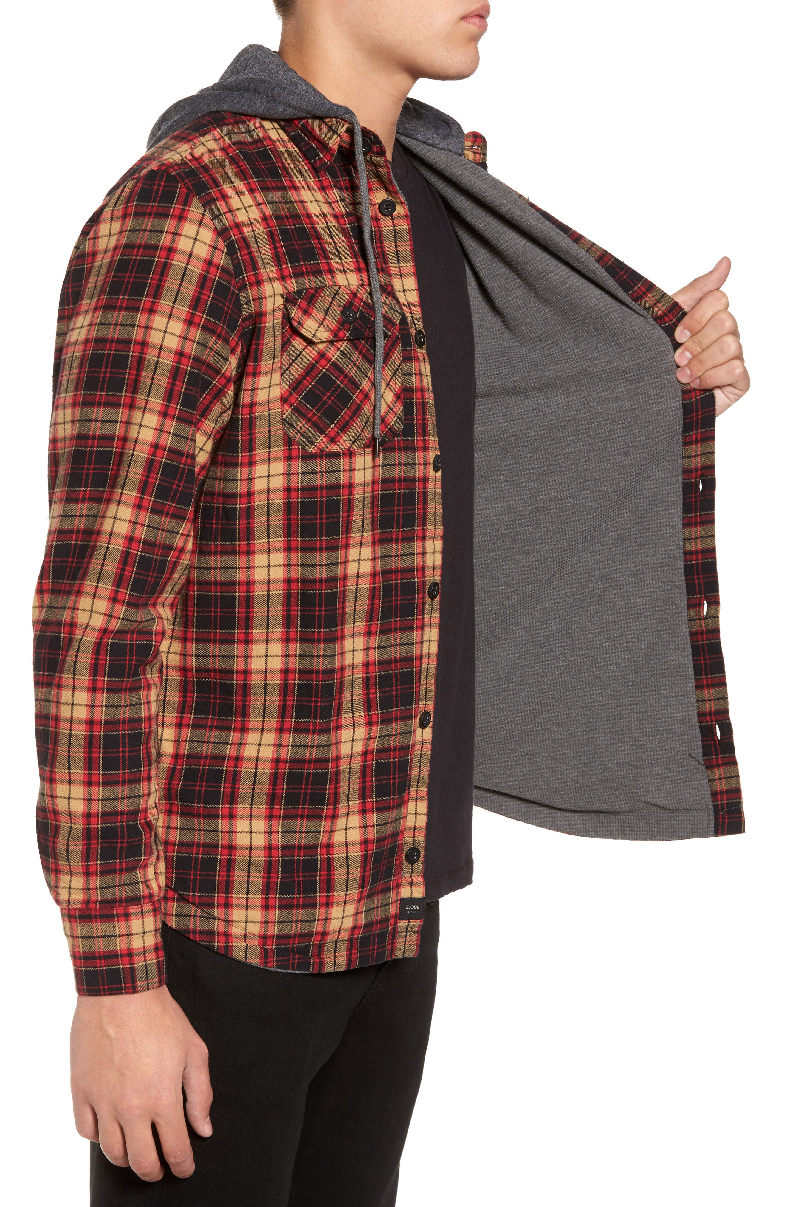 'Alford' Trim Fit Long Sleeve Plaid Hooded Shirt,                             Alternate thumbnail 3, color,                             Tobacco