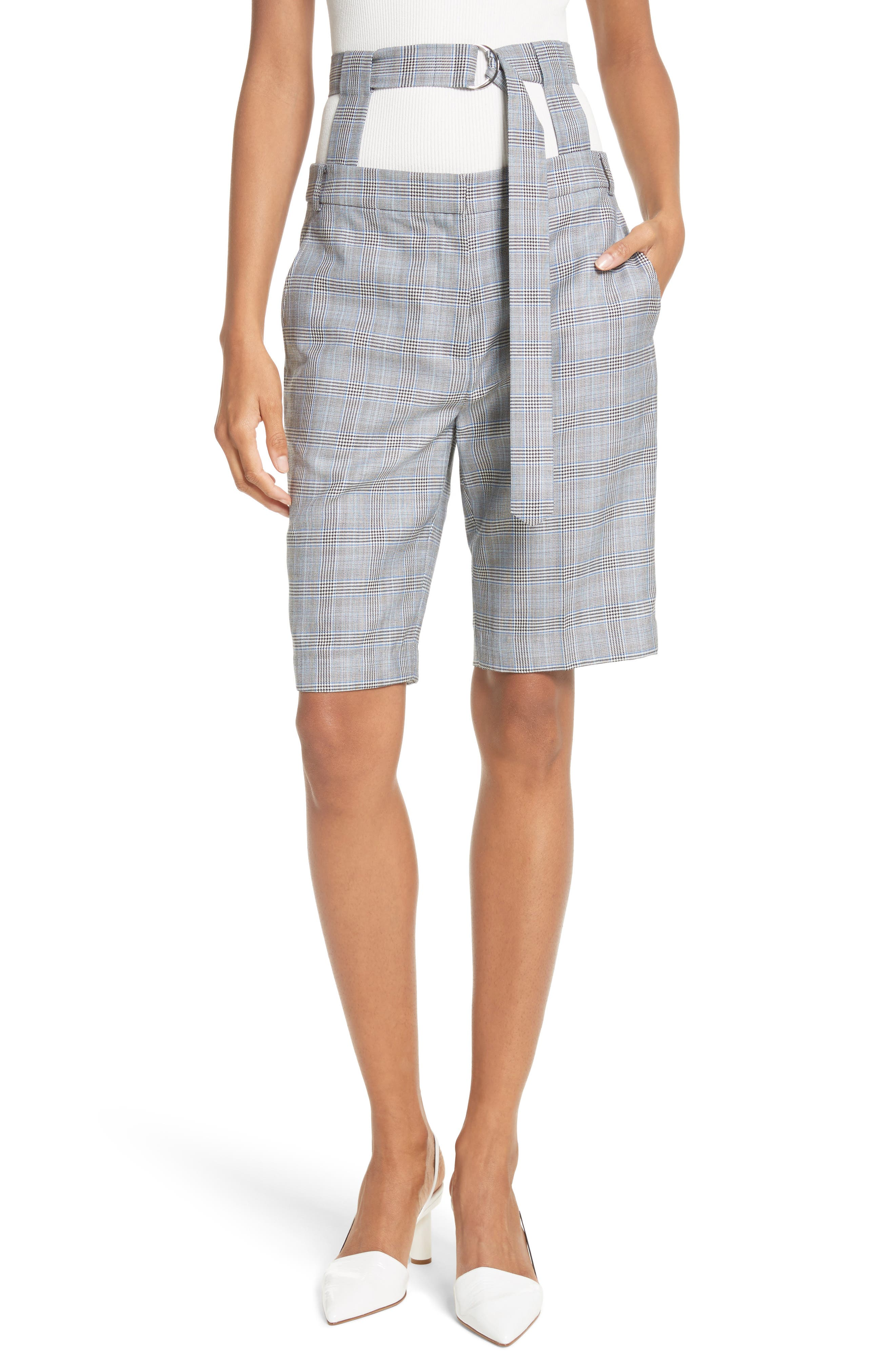 Removable Corset Plaid Shorts,                         Main,                         color, Grey Multi
