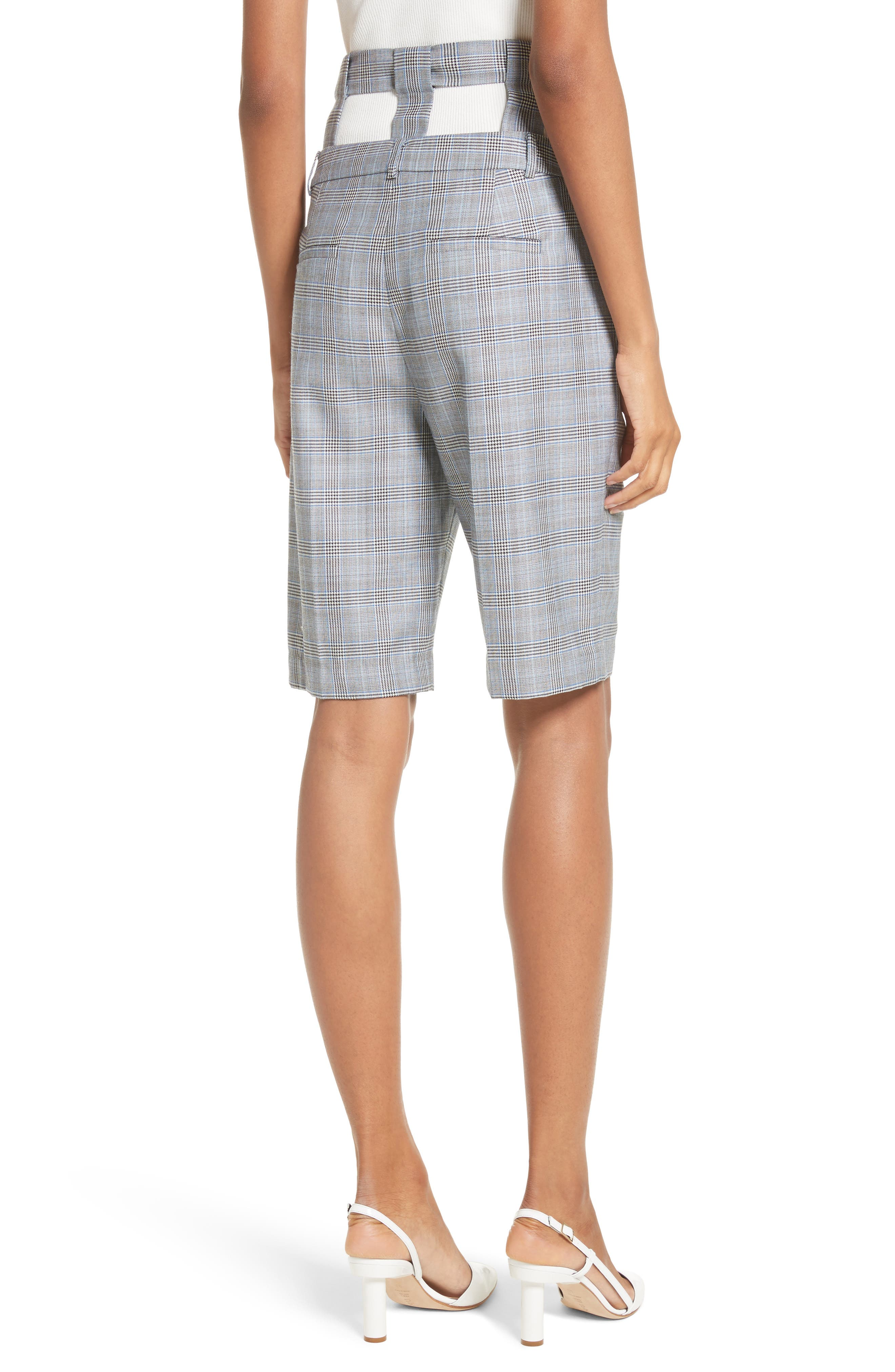 Removable Corset Plaid Shorts,                             Alternate thumbnail 2, color,                             Grey Multi